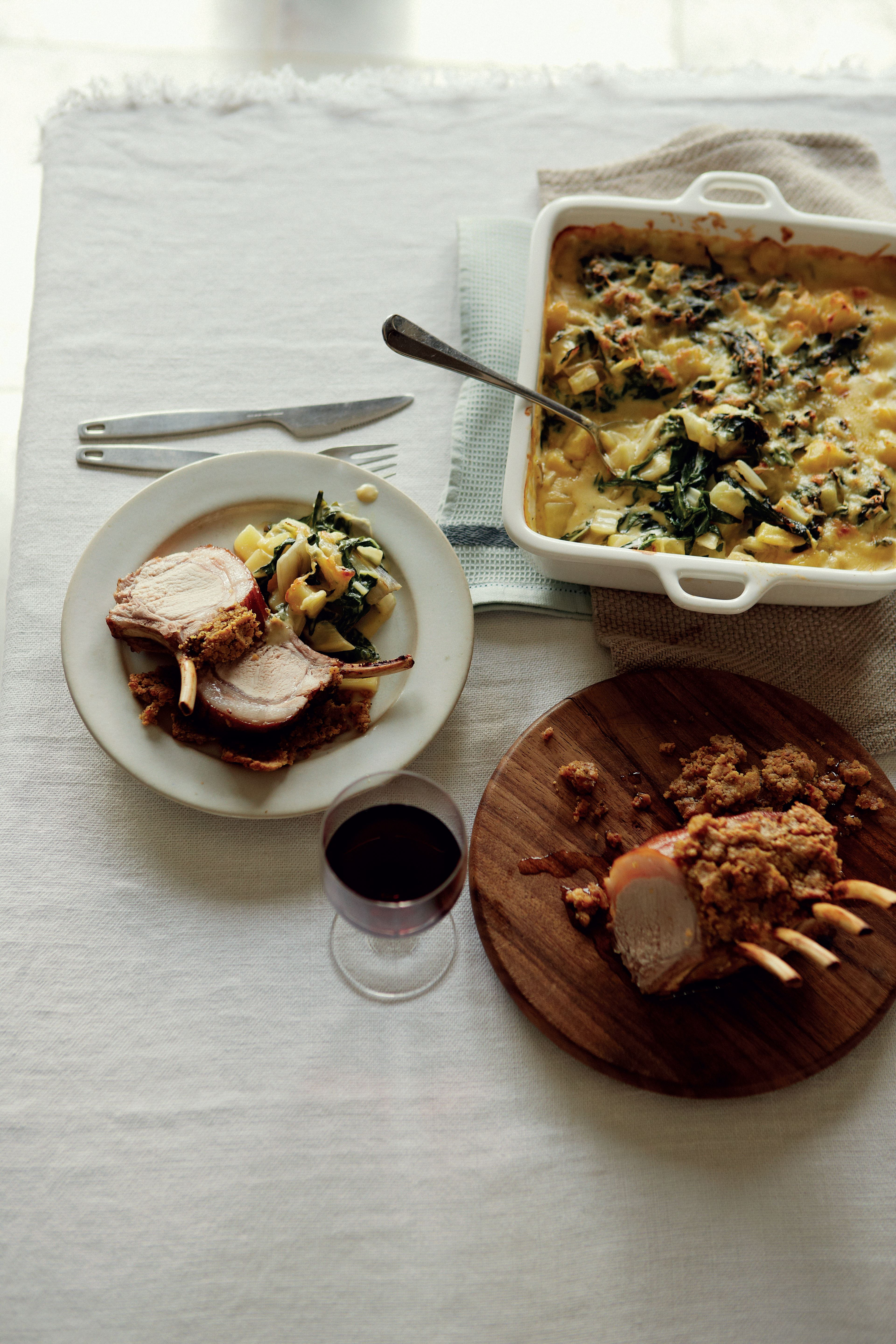 Beer-marinated rack of pork with Jeff's chard gratin