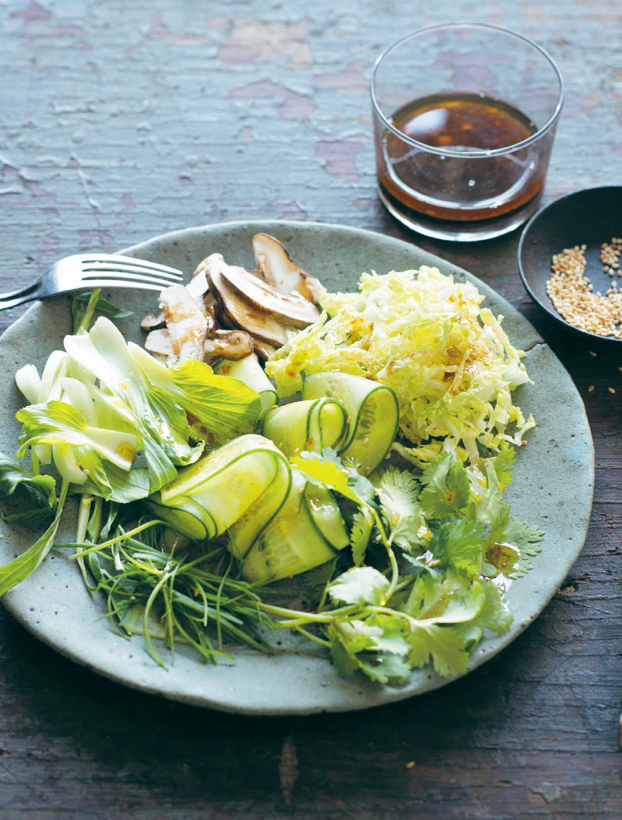 Asian greens slaw with lime and sesame dressing