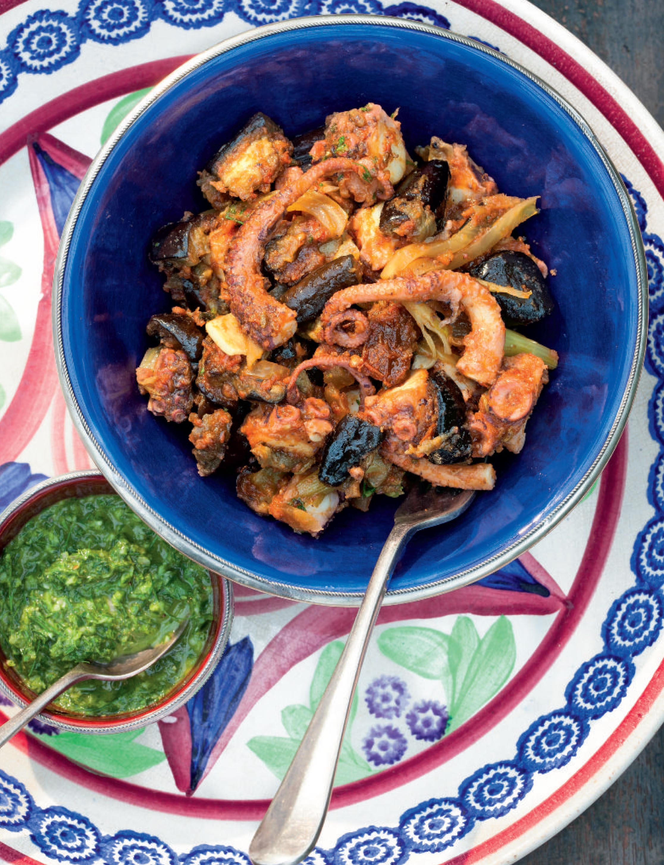 Greek octopus and aubergine with green sauce