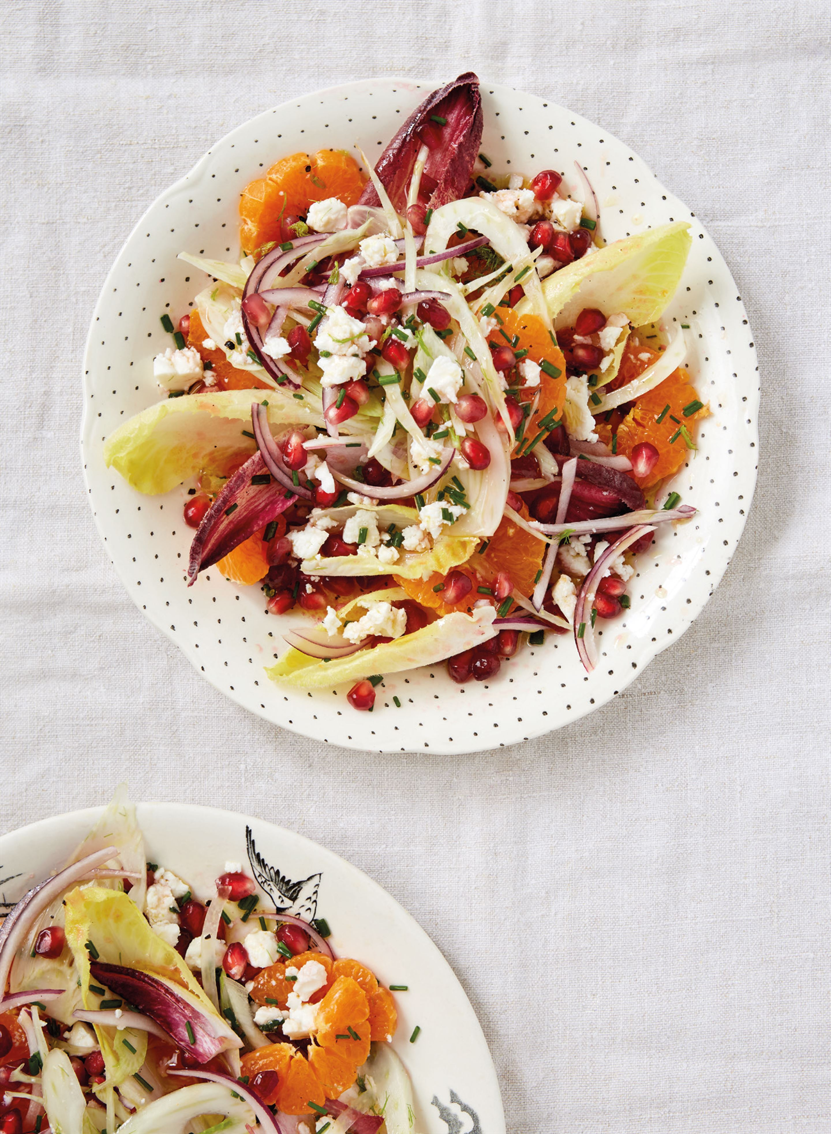 Satsuma, pomegranate, fennel and chicory salad with feta