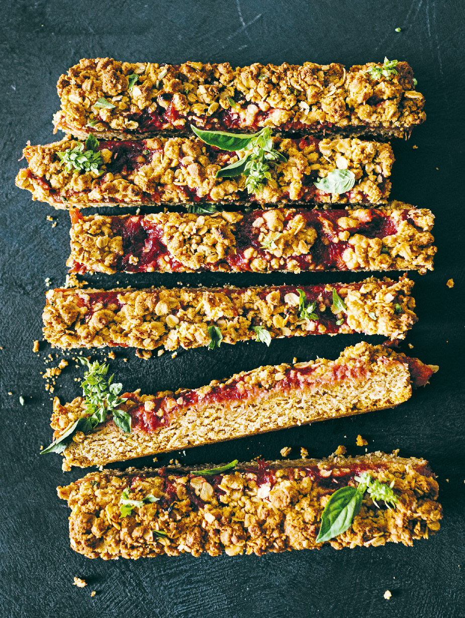 Rhubarb, basil and oatmeal slice