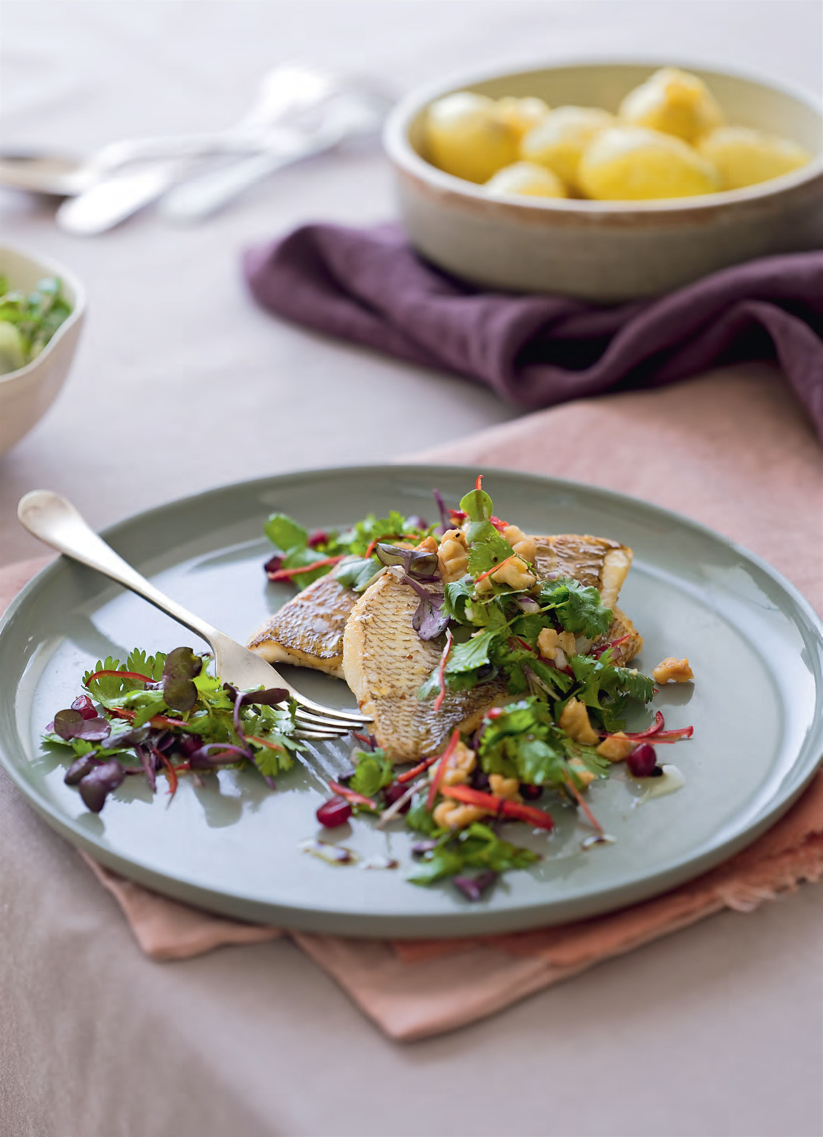 Grilled snapper with walnut–pomegranate salad