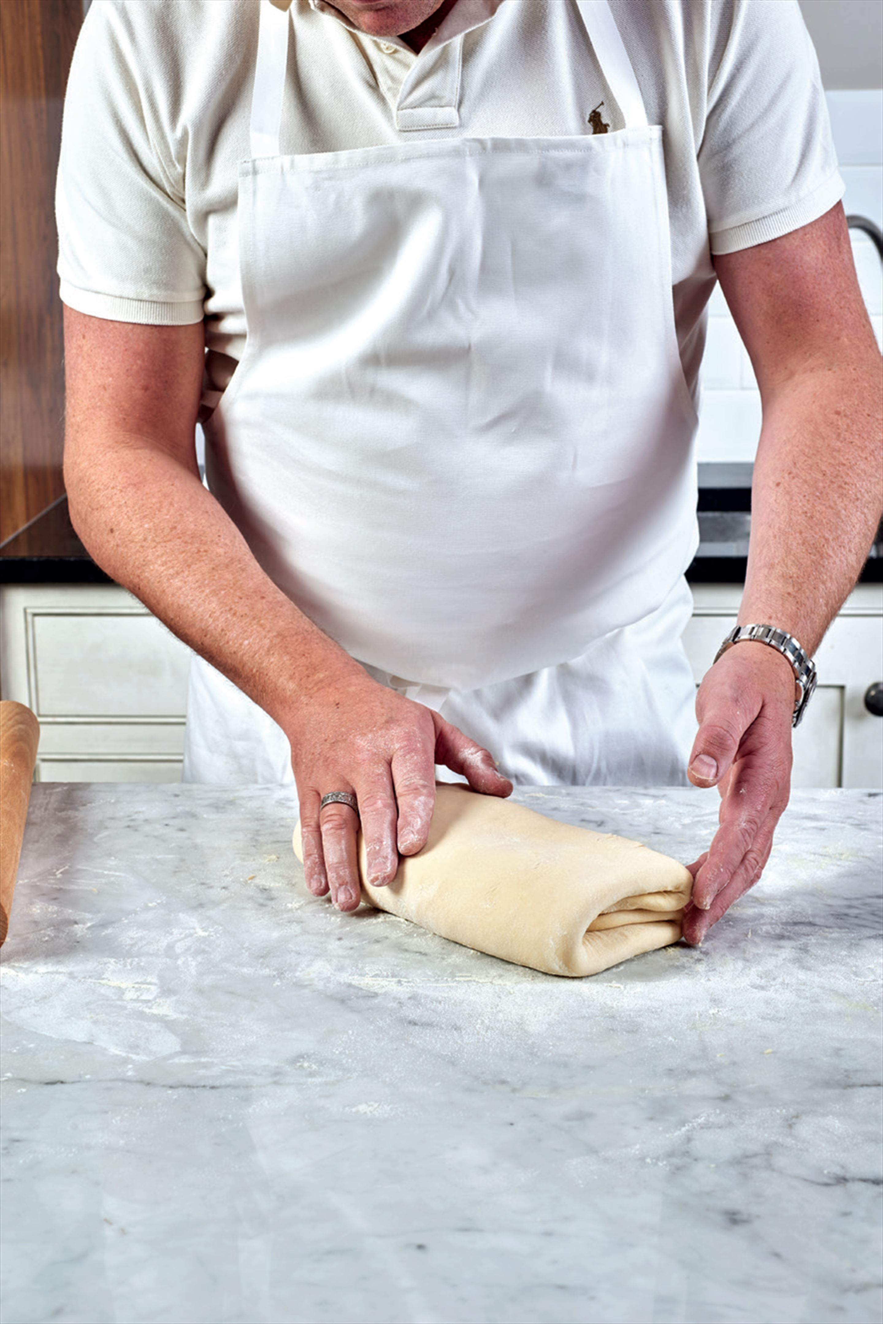 Laminated enriched yeast dough