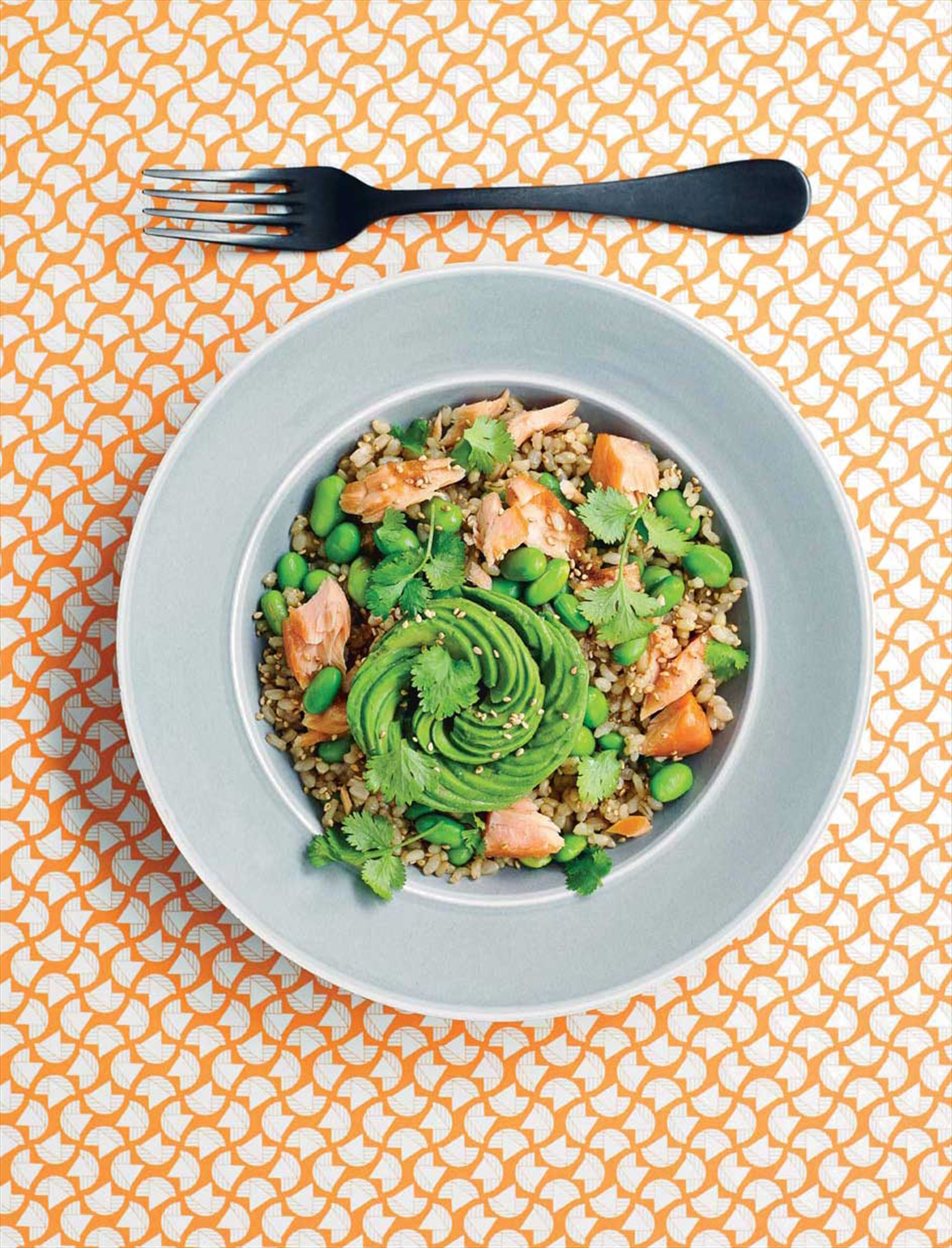 Avocado, salmon & sesame rice bowl
