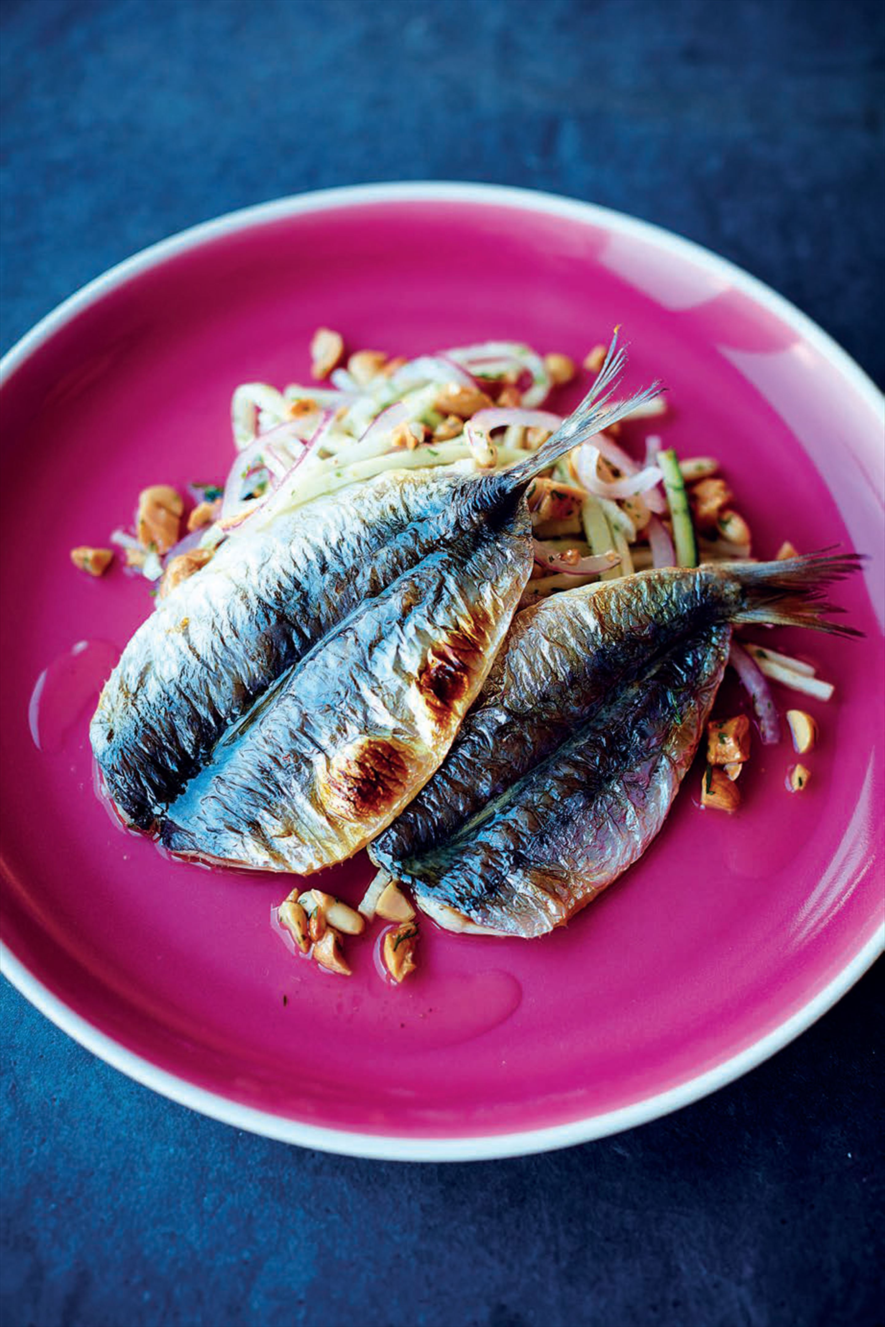 Sardines with courgette and nut salad