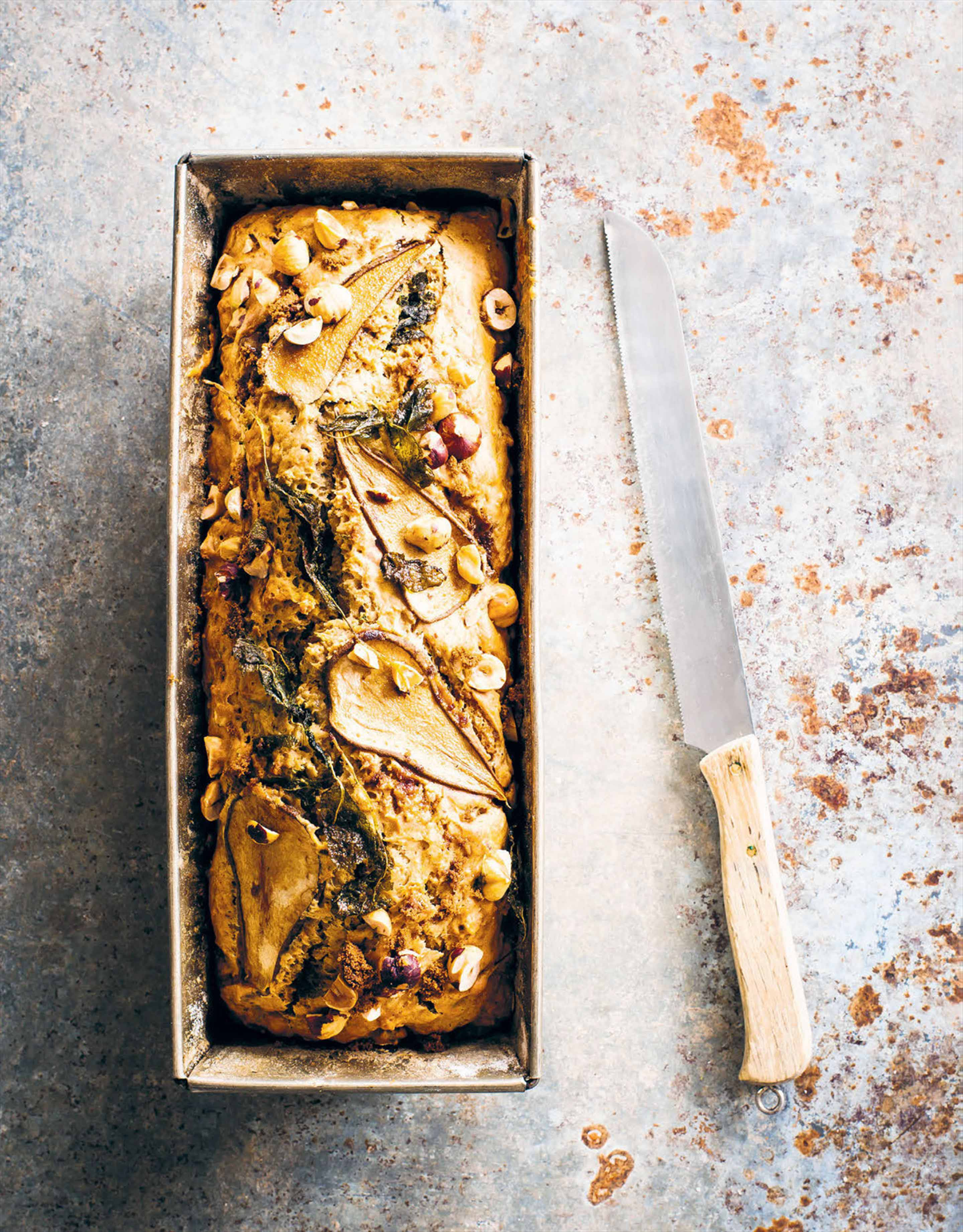 Pear, sage & hazelnut bread