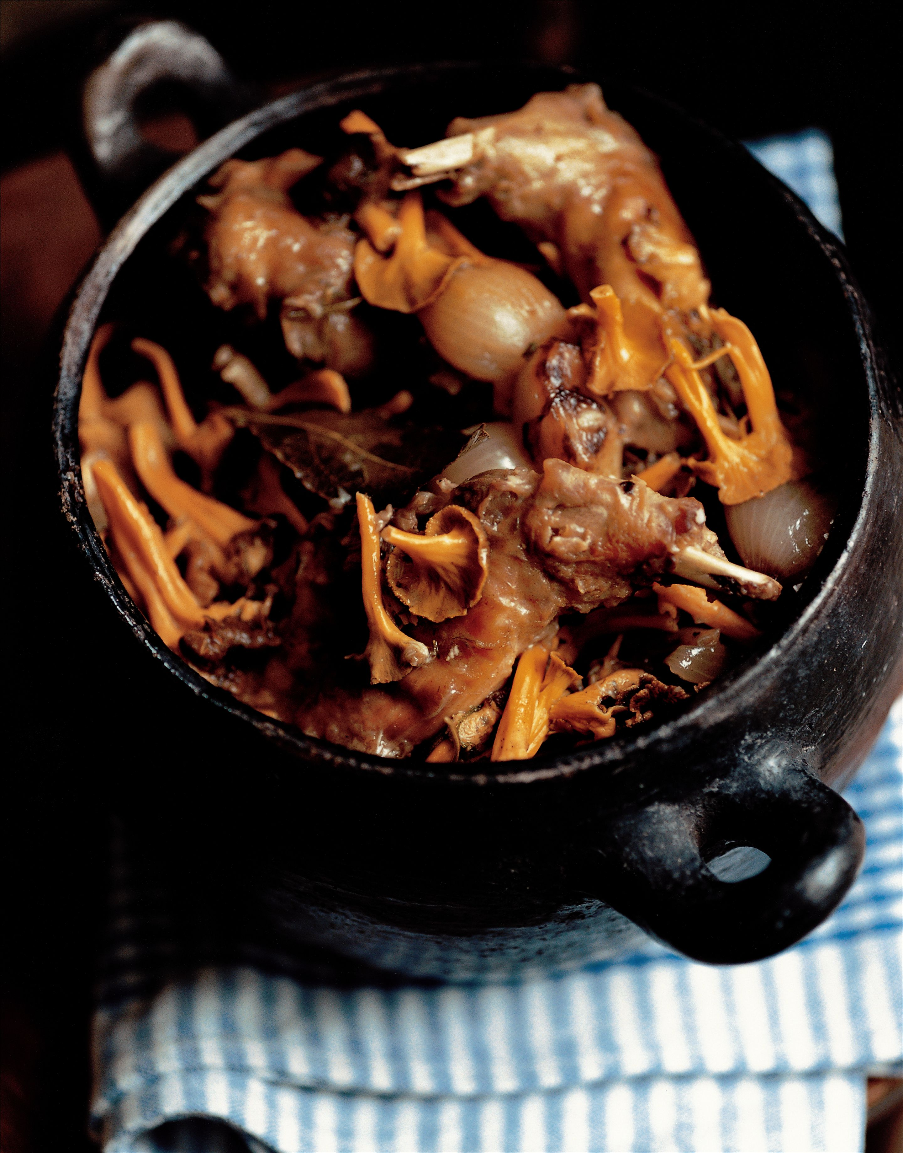 Rabbit casserole with winter chanterelles