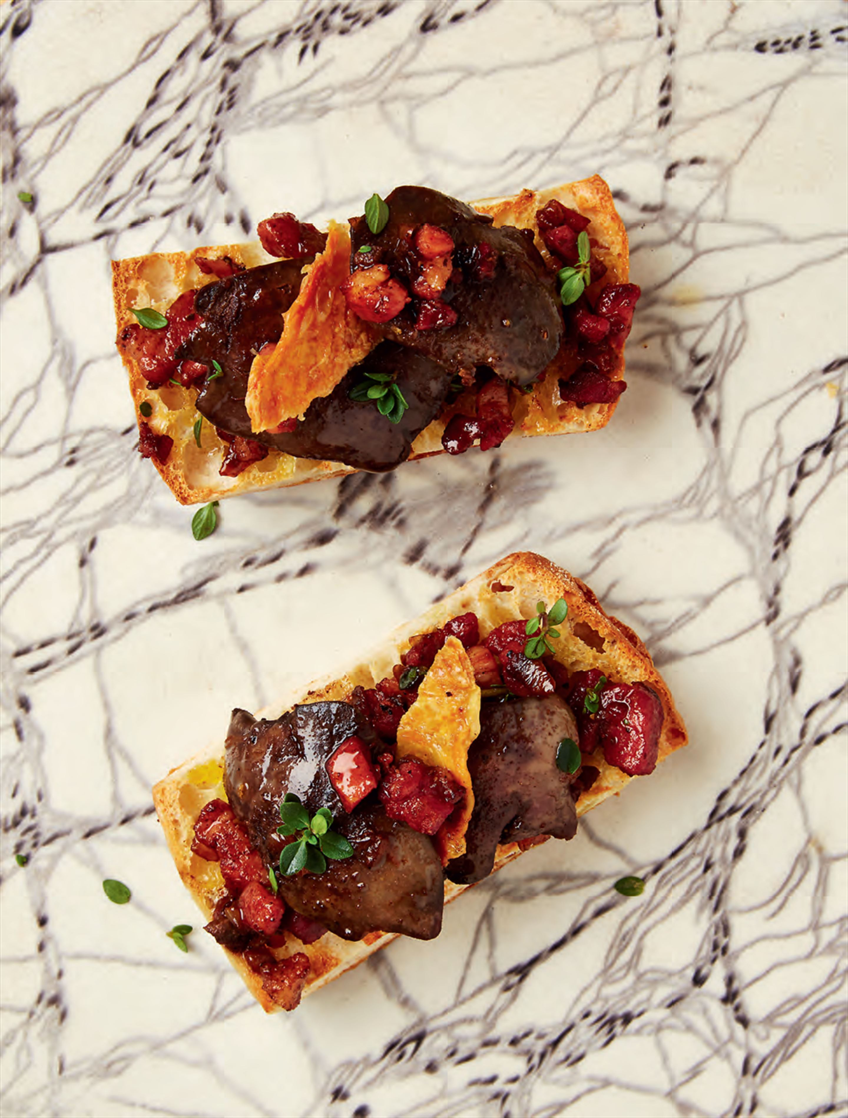 Chicken livers & crisp chicken skin crostini