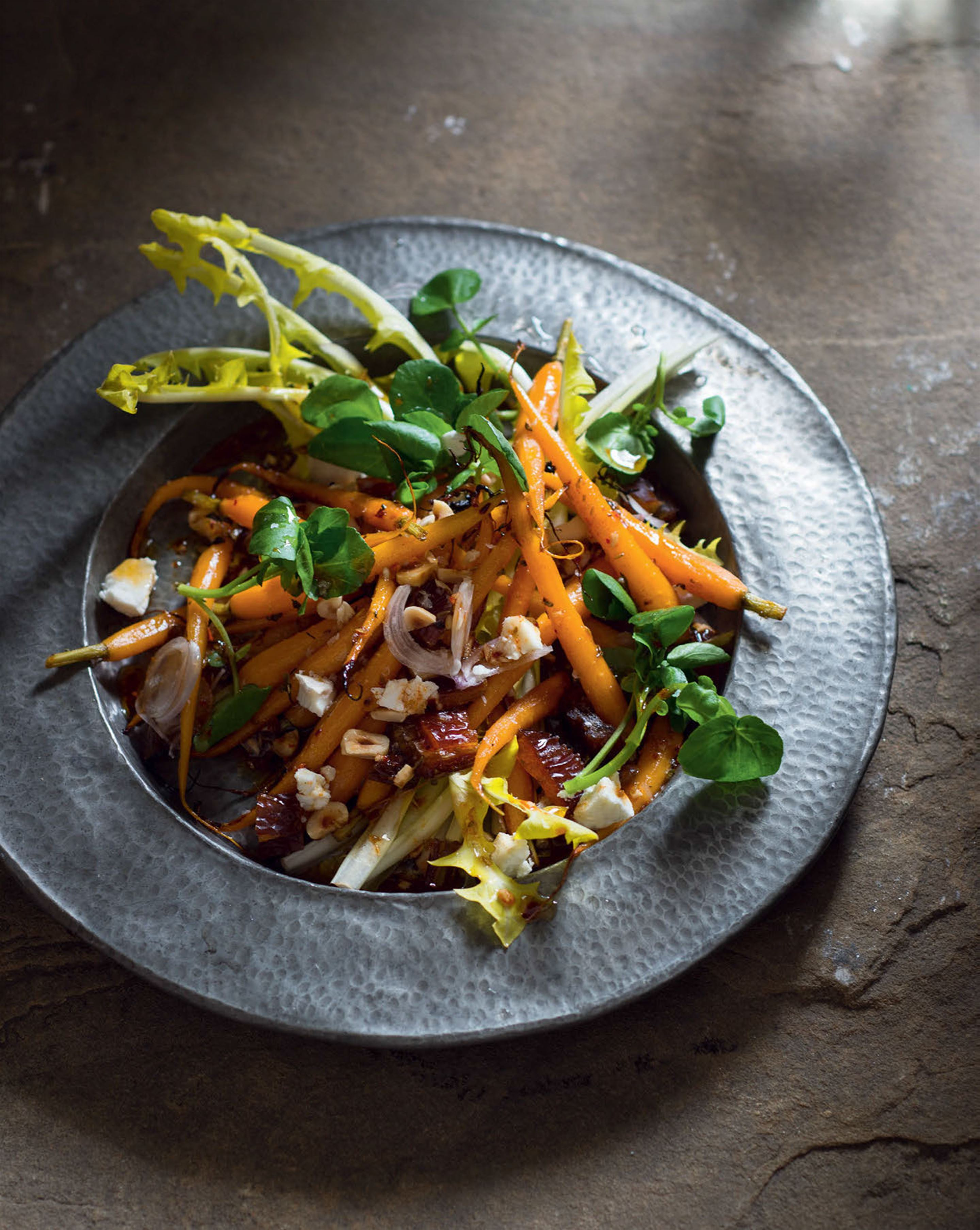 Honey-roasted carrots with dates, dandelions & Moroccan dressing