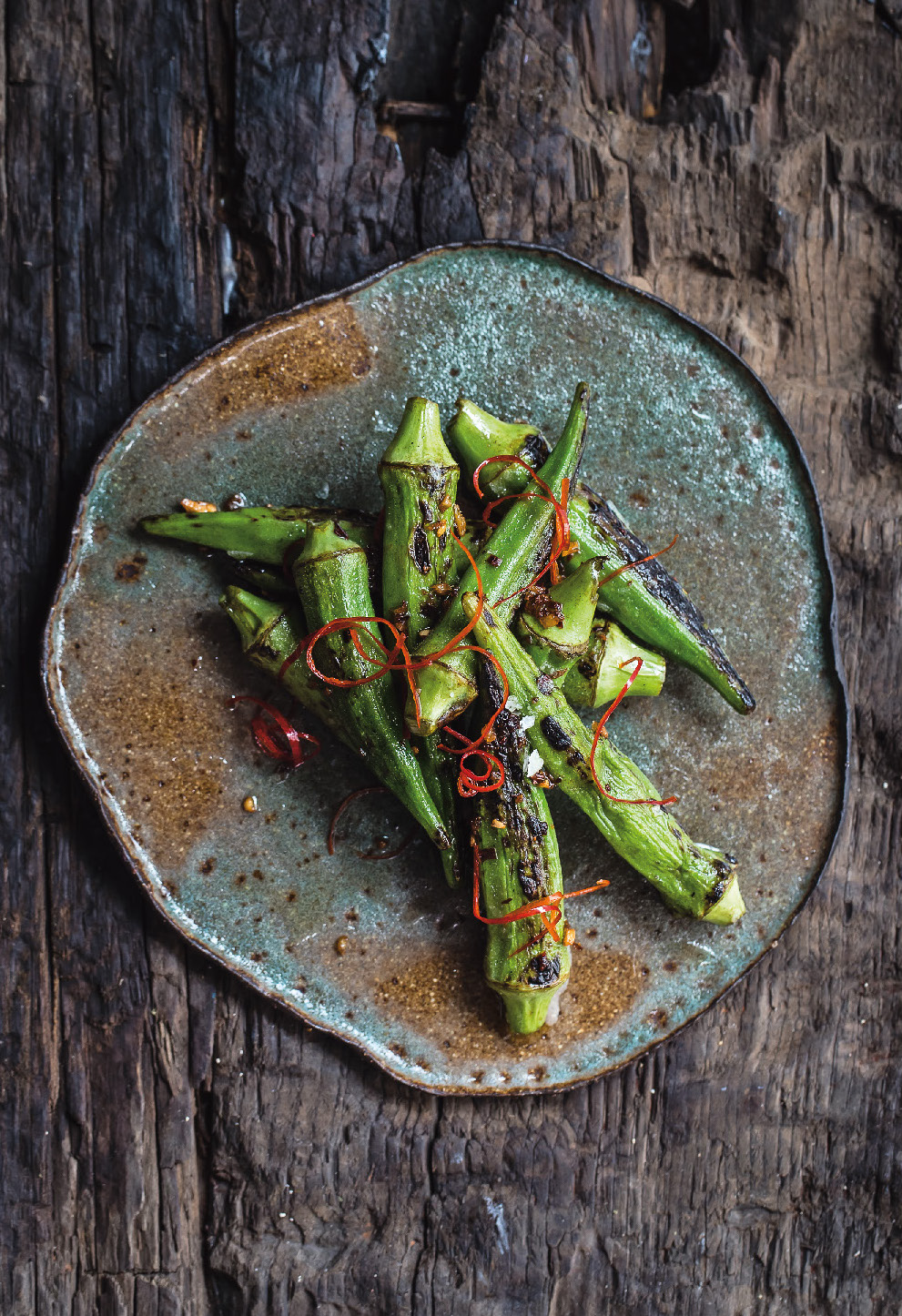 Okra, roasted chilli, ginger and garlic