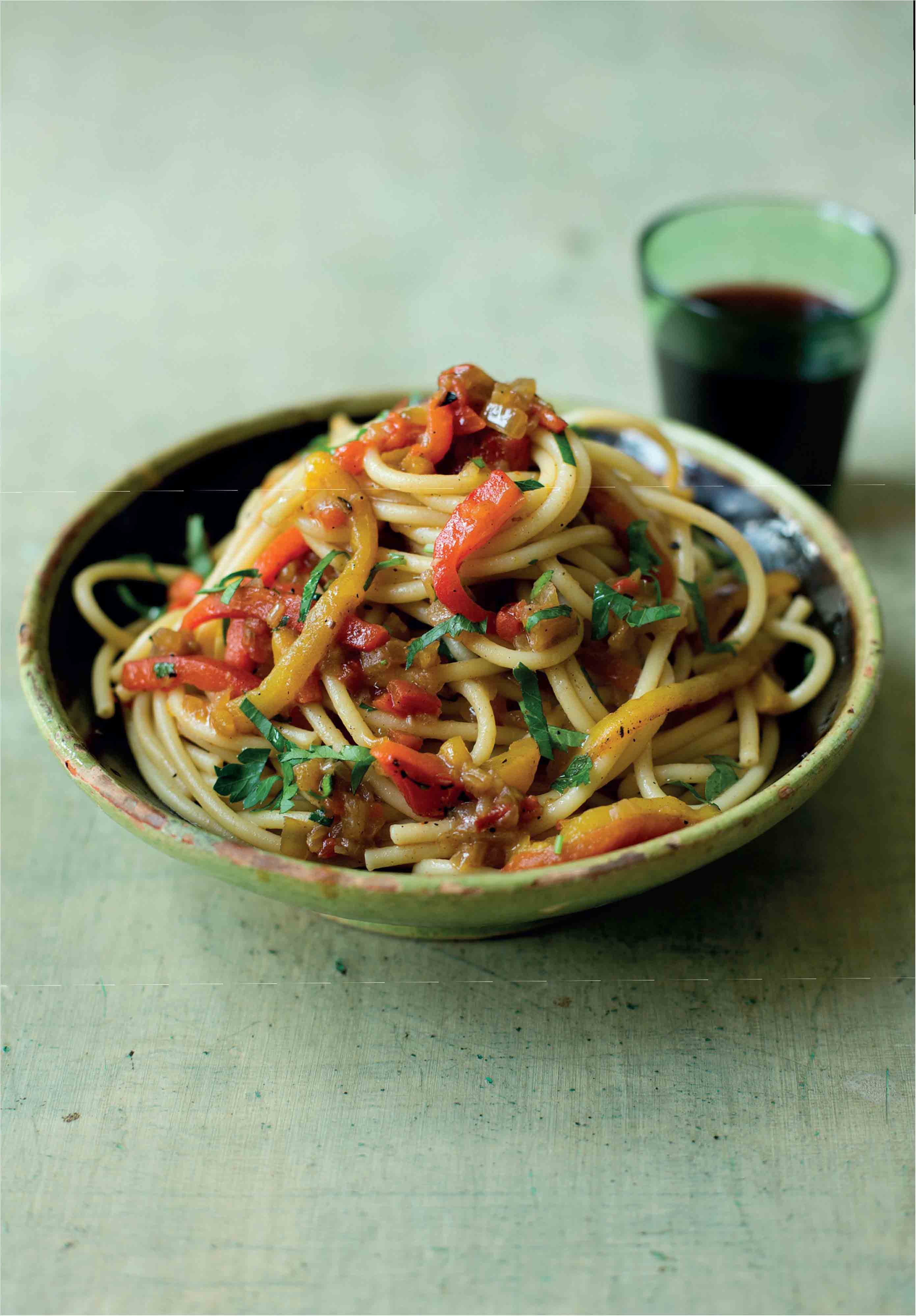 Large spaghetti with a roast pepper and anchovy sauce