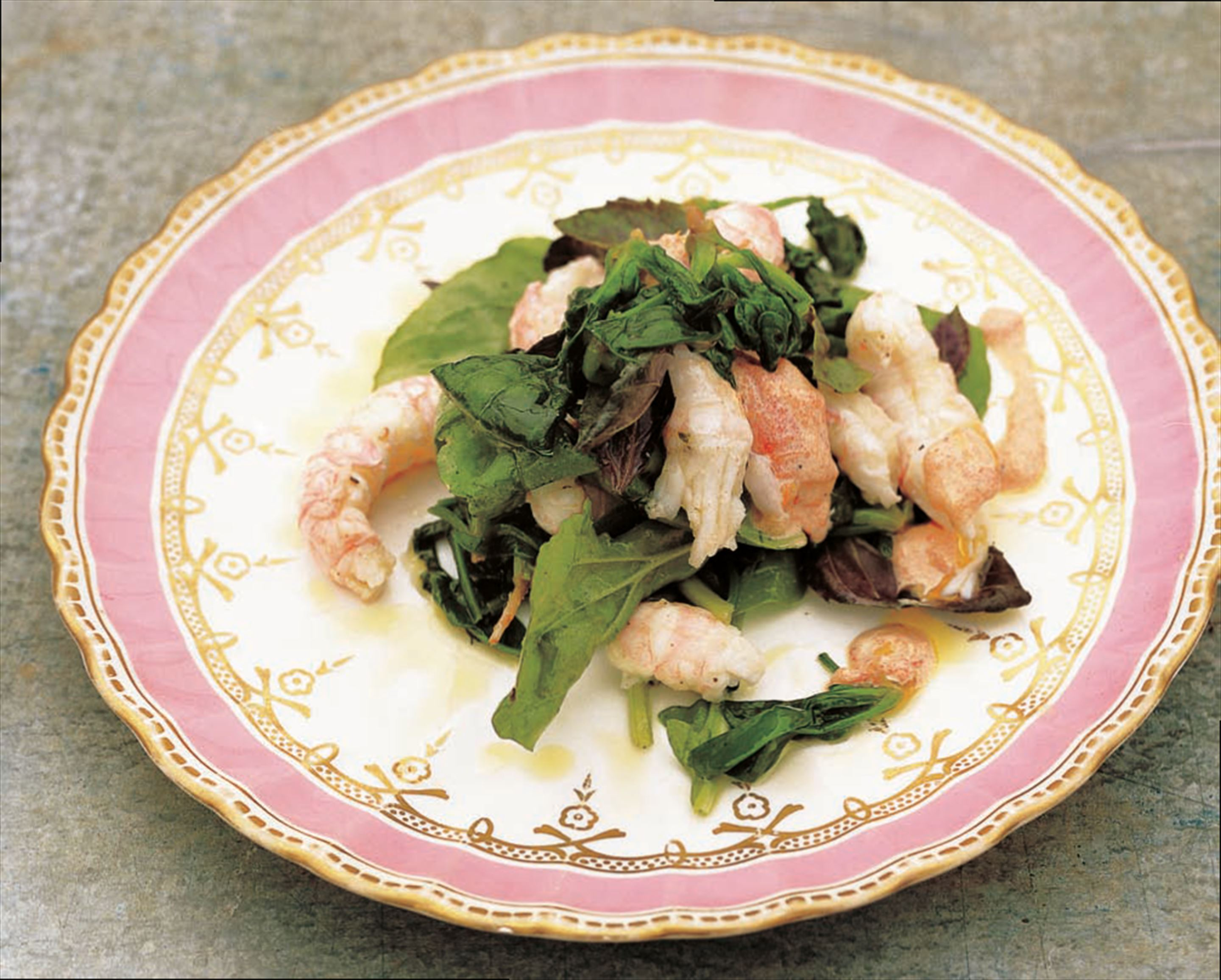 Langoustines with cooked spinach, purple basil and tomato aïoli