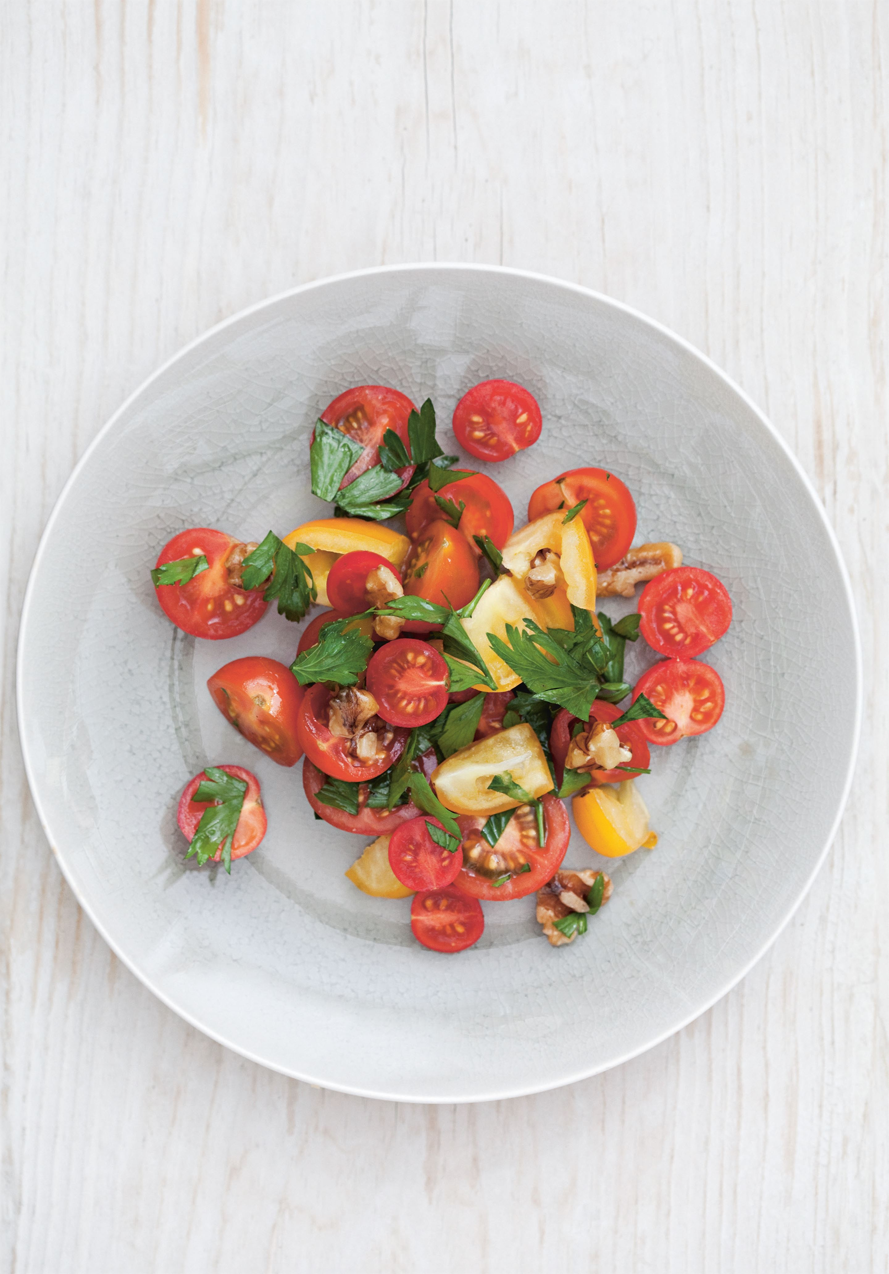 Tomato, walnut and pomegranate molasses salad