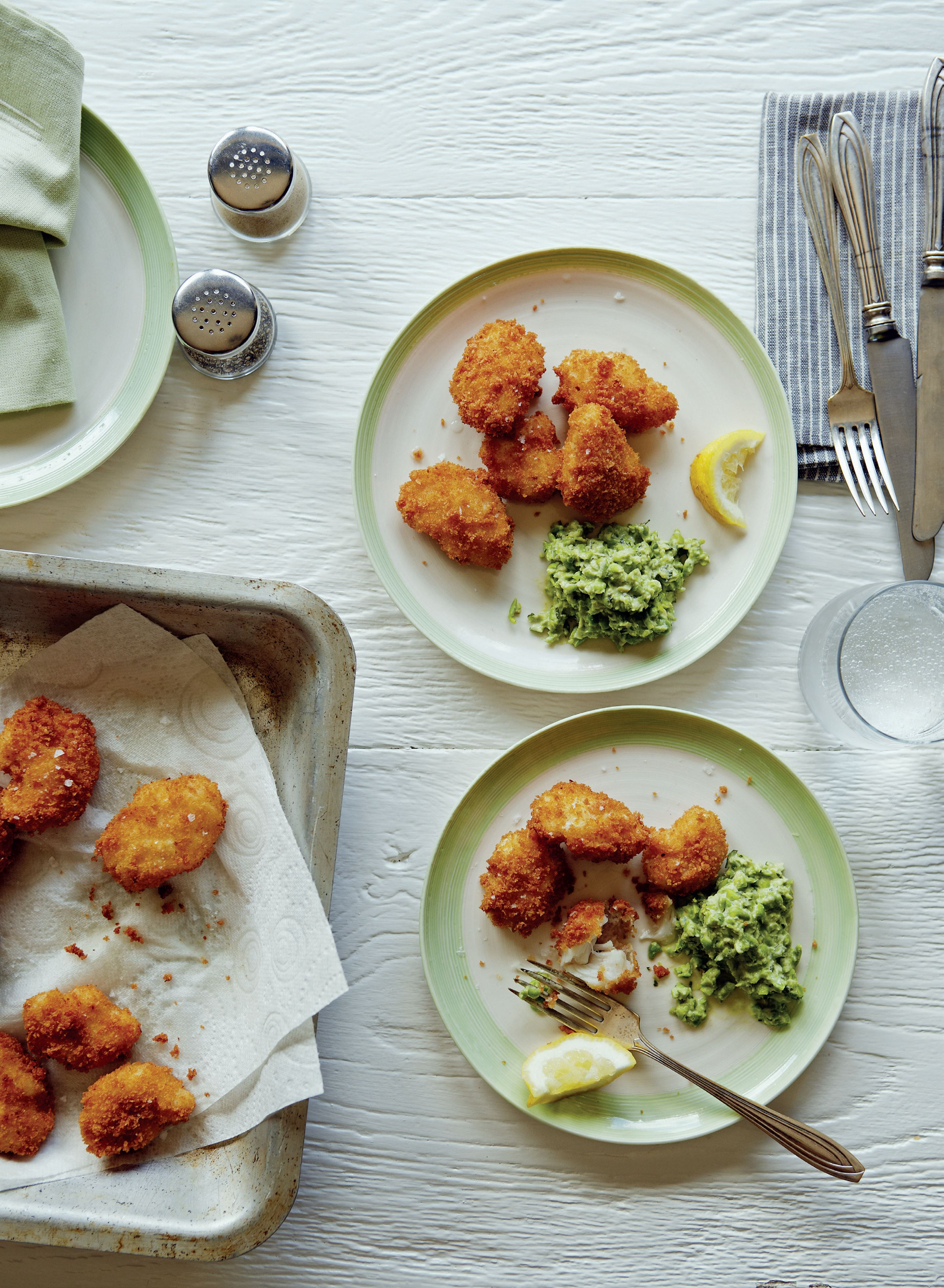 Sourdough cod cheeks with spicy pea salsa