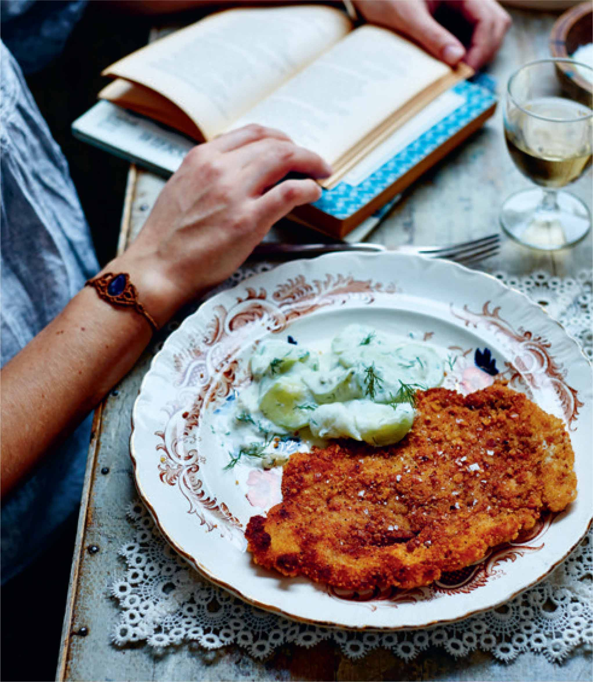 Breaded turkey escalope with cucumber and dill salad