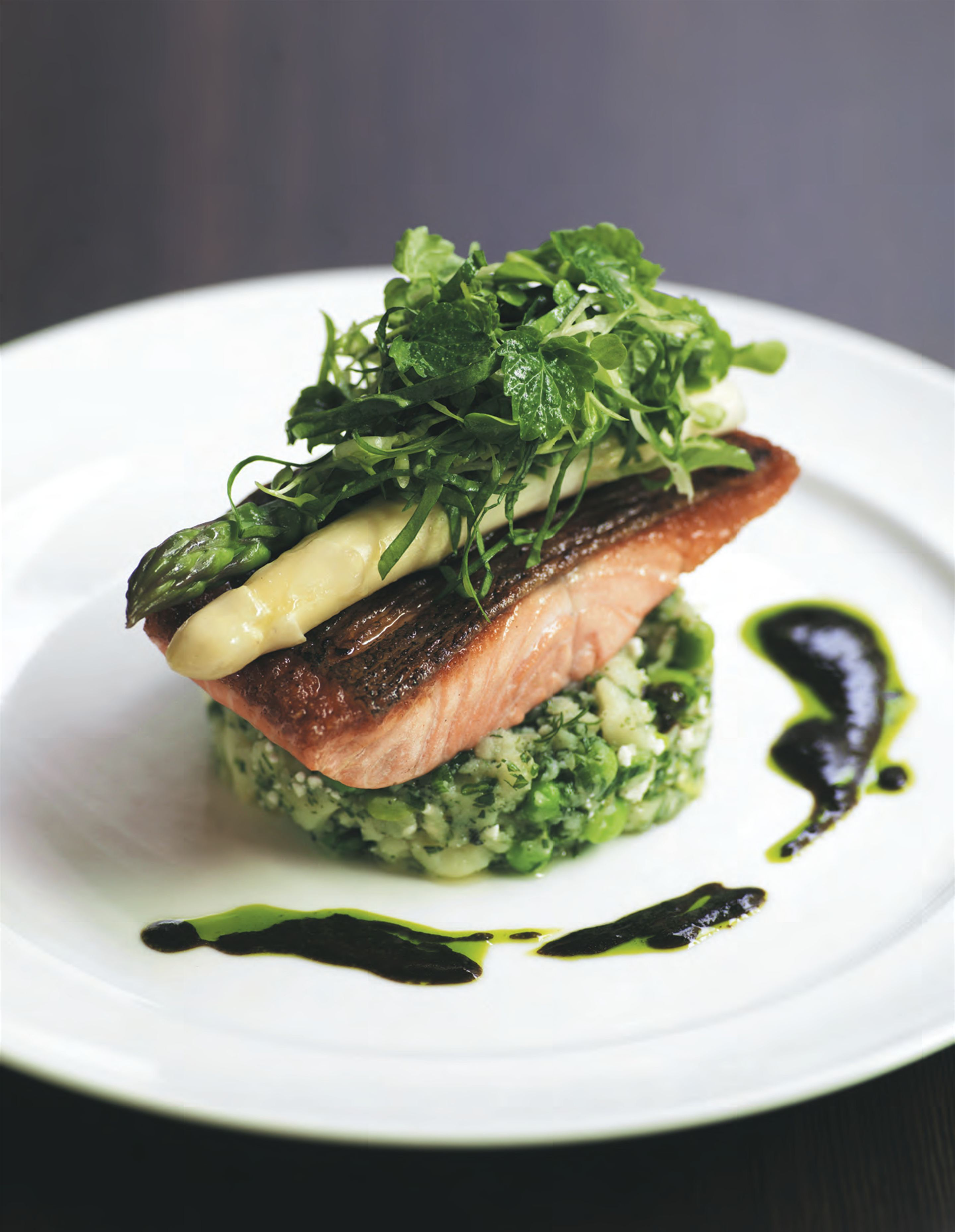 Ocean trout with crushed potatoes primavera