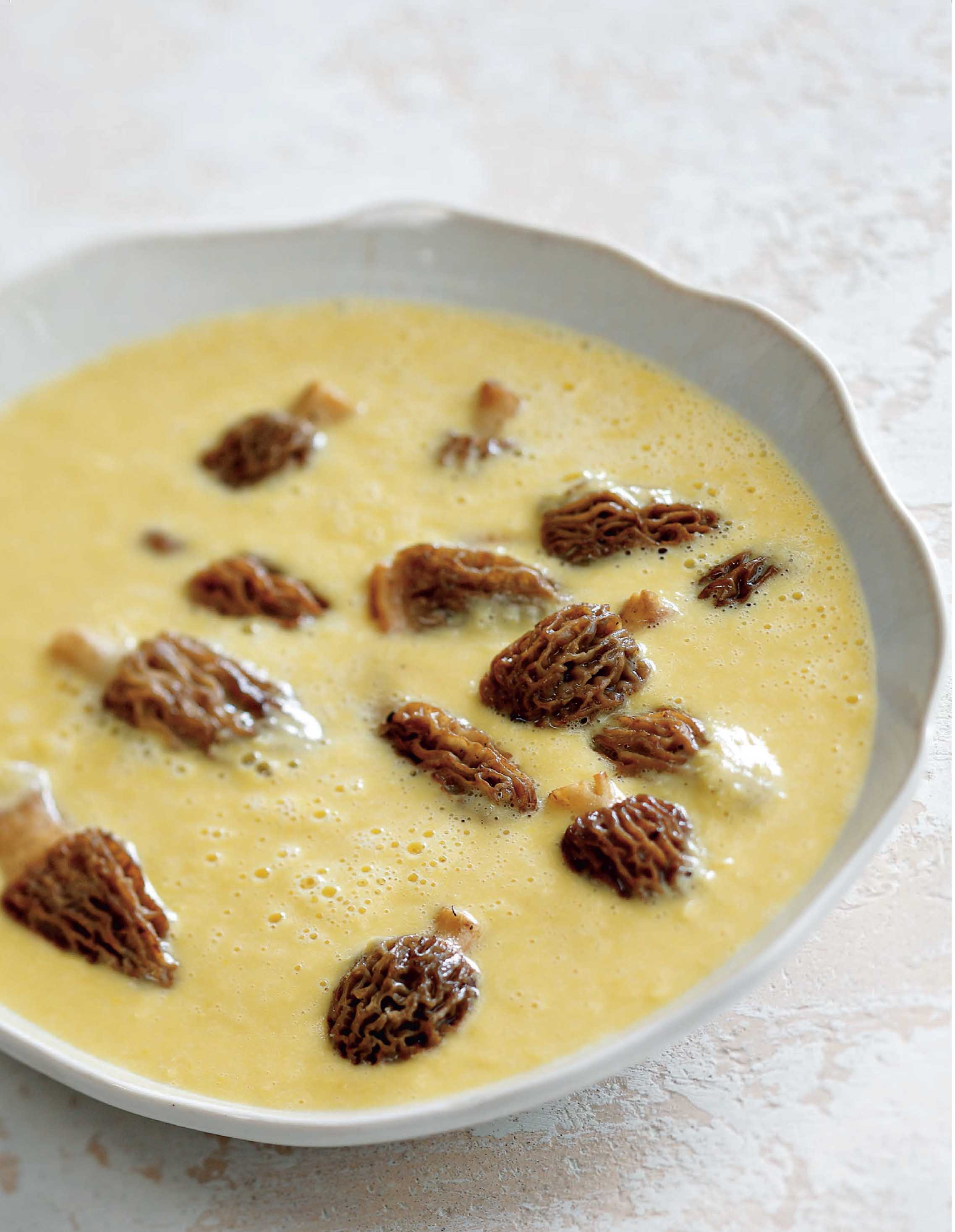 Cappuccino of corn chowder with morels