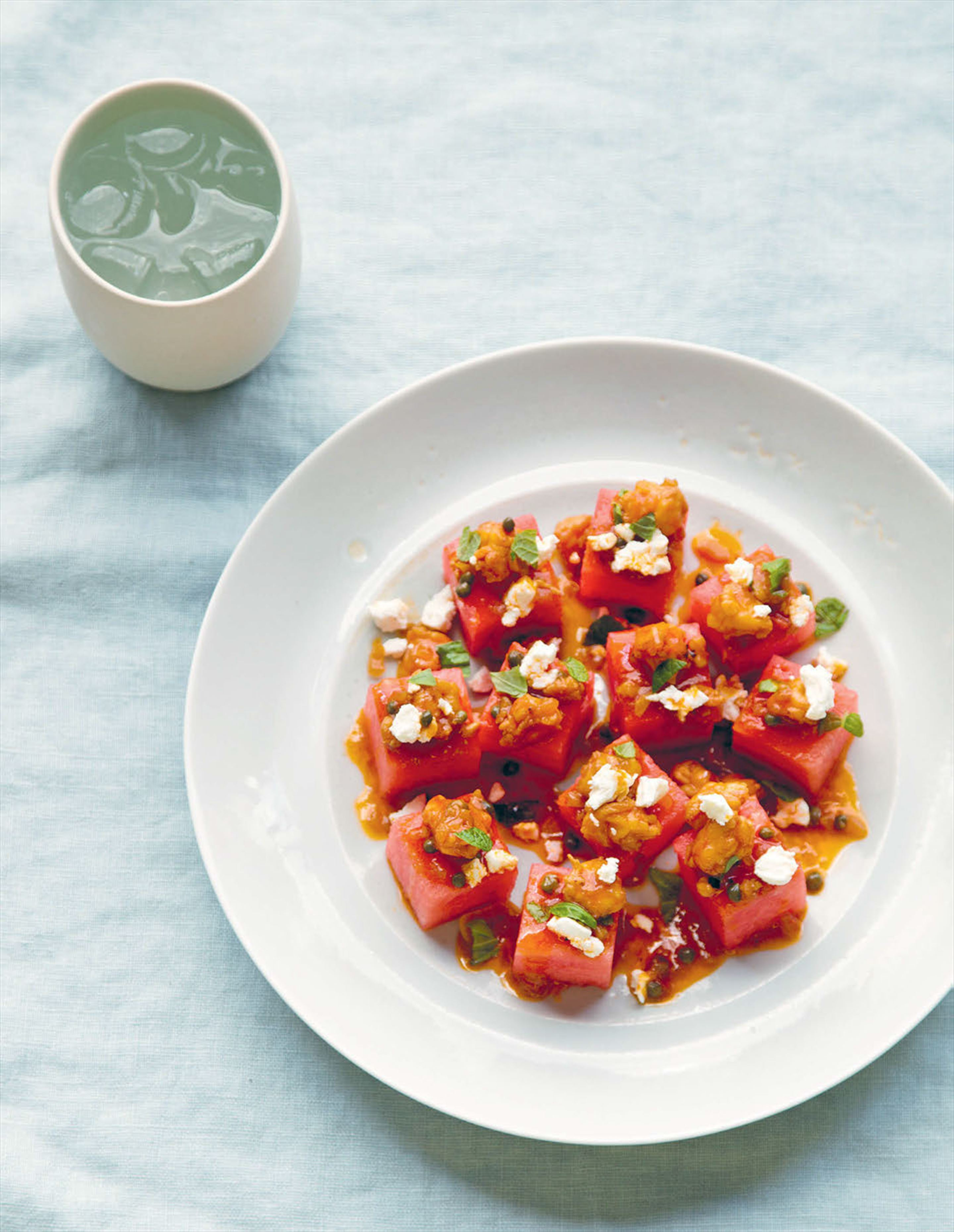 Watermelon and feta with prawn vinaigrette