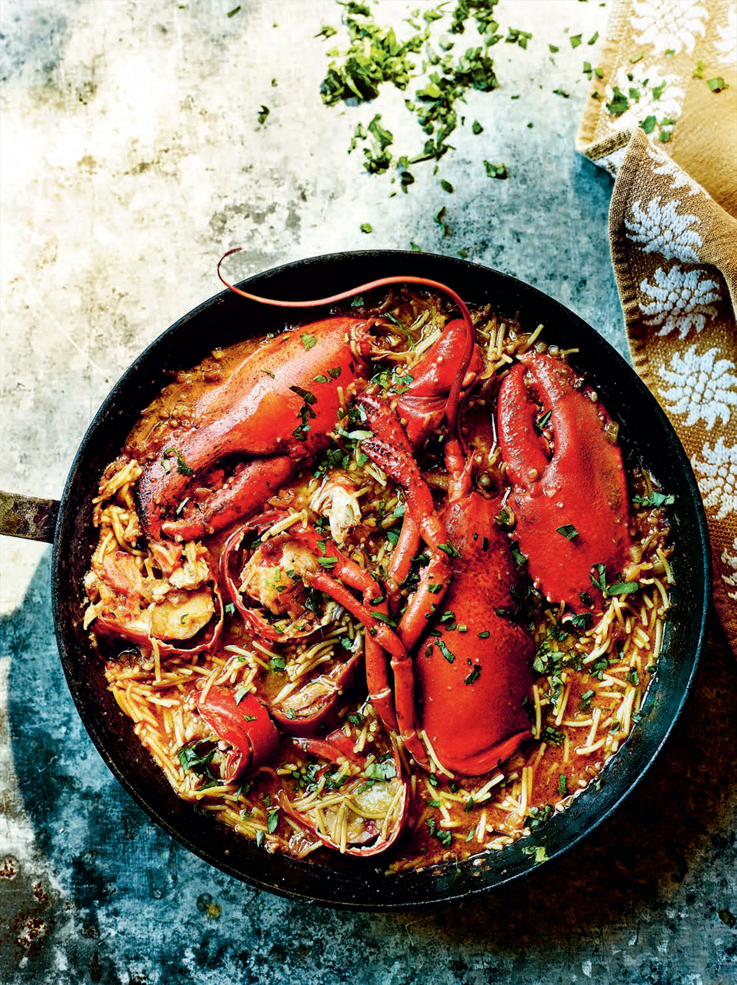 Lobster and saffron pasta stew