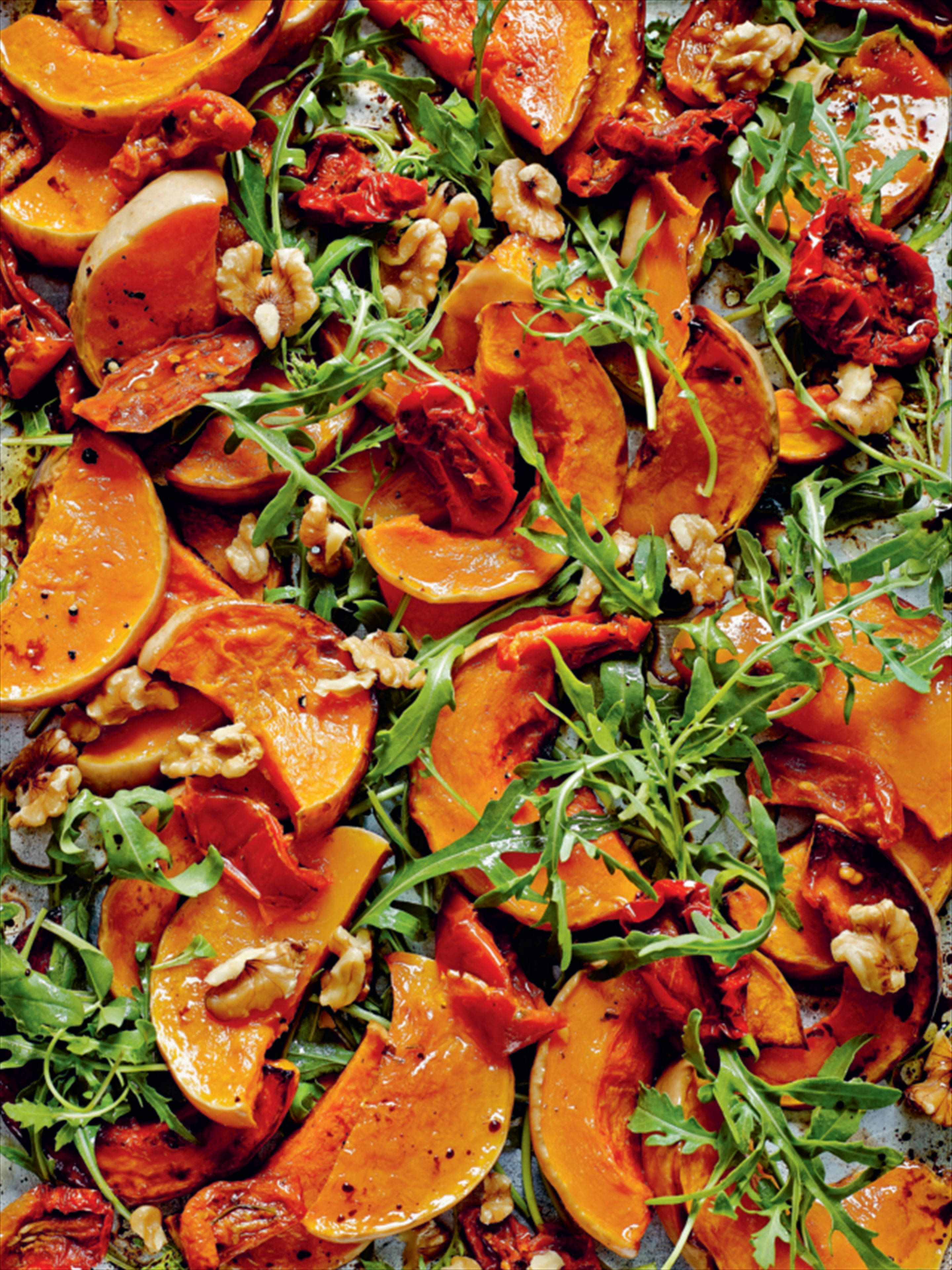 Roasted squash, rocket and sun-dried tomato salad