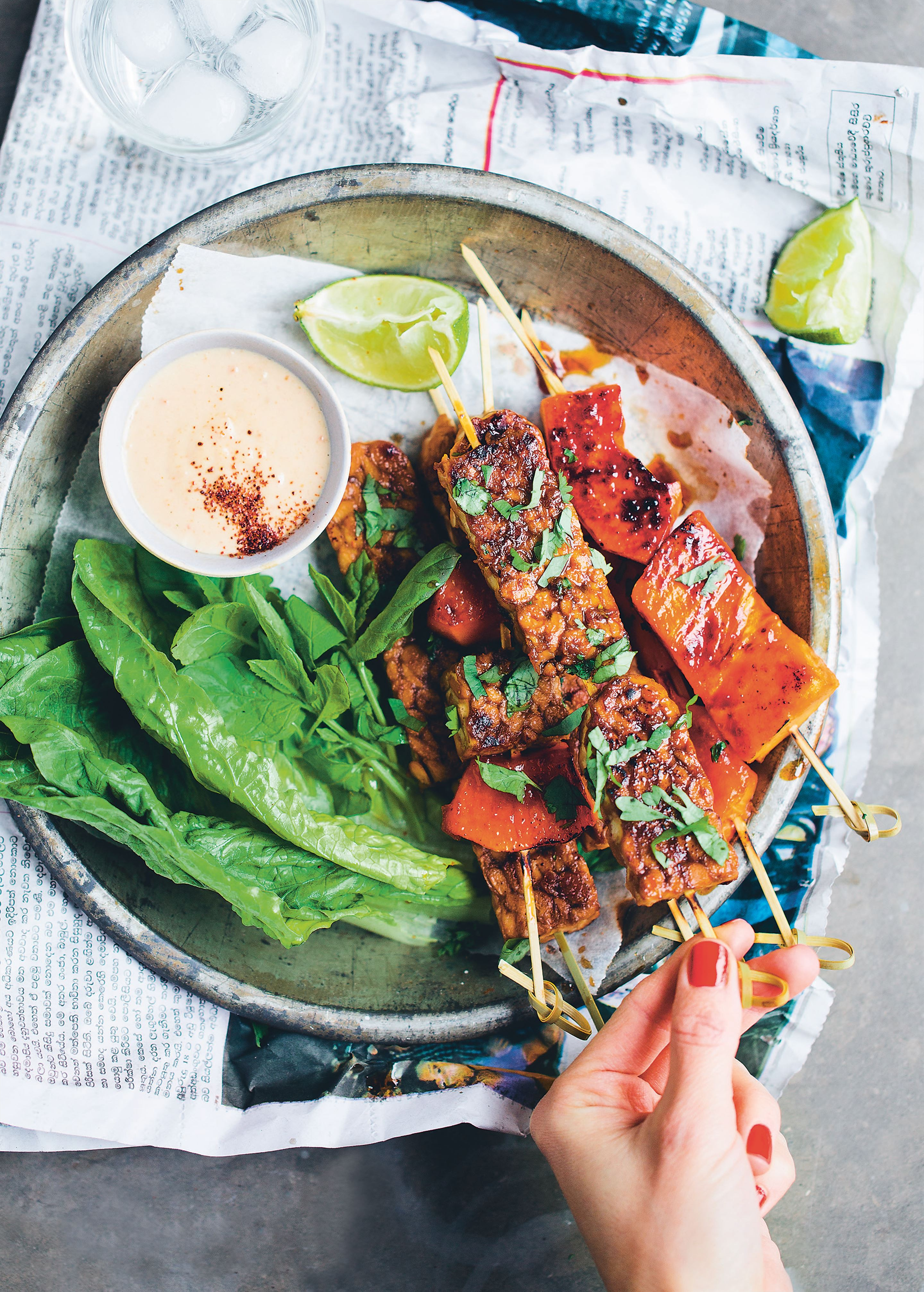 Tempeh and papaya satay skewers