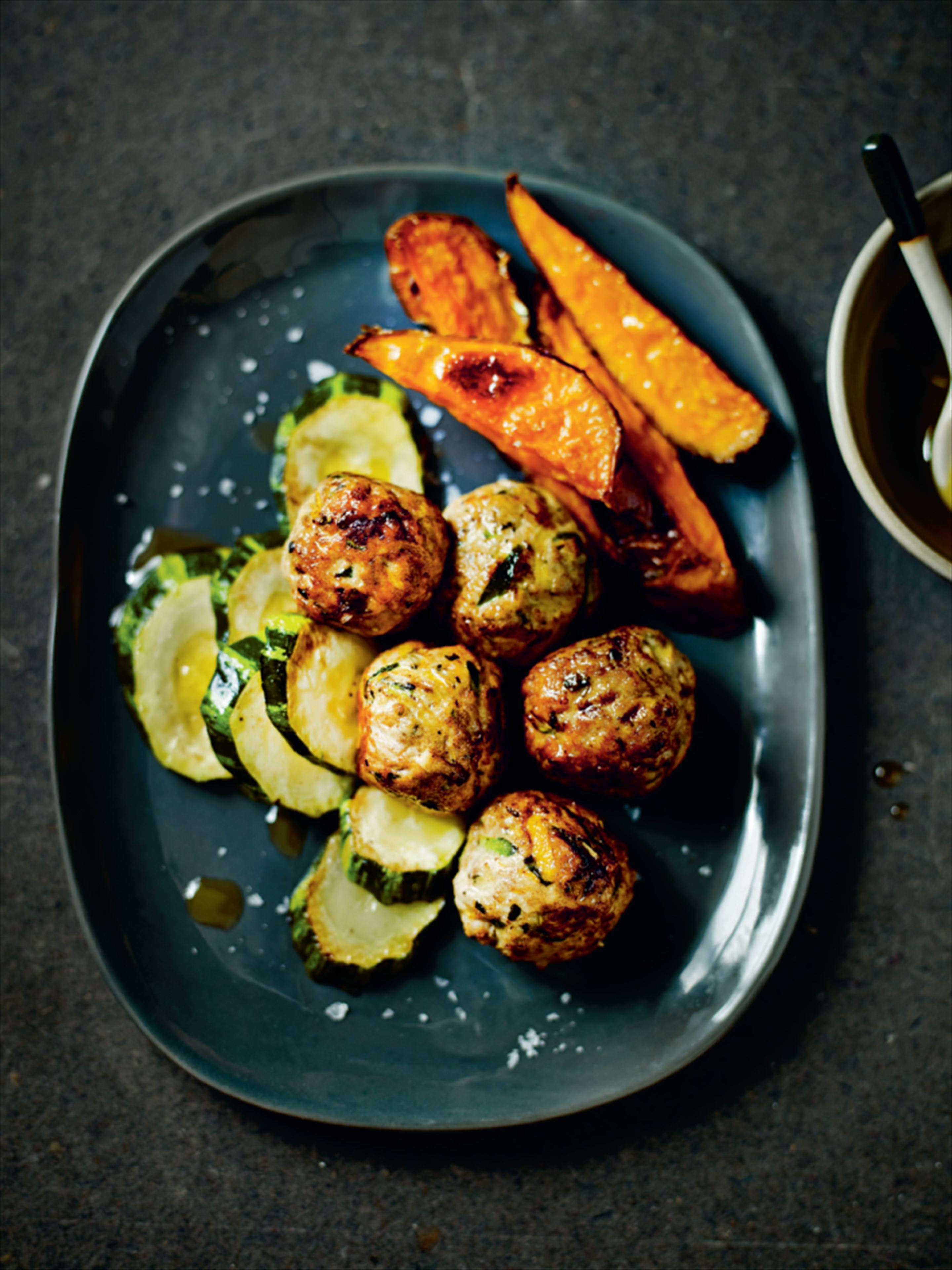 Turkey meatballs with sautéed courgette and roasted sweet potato