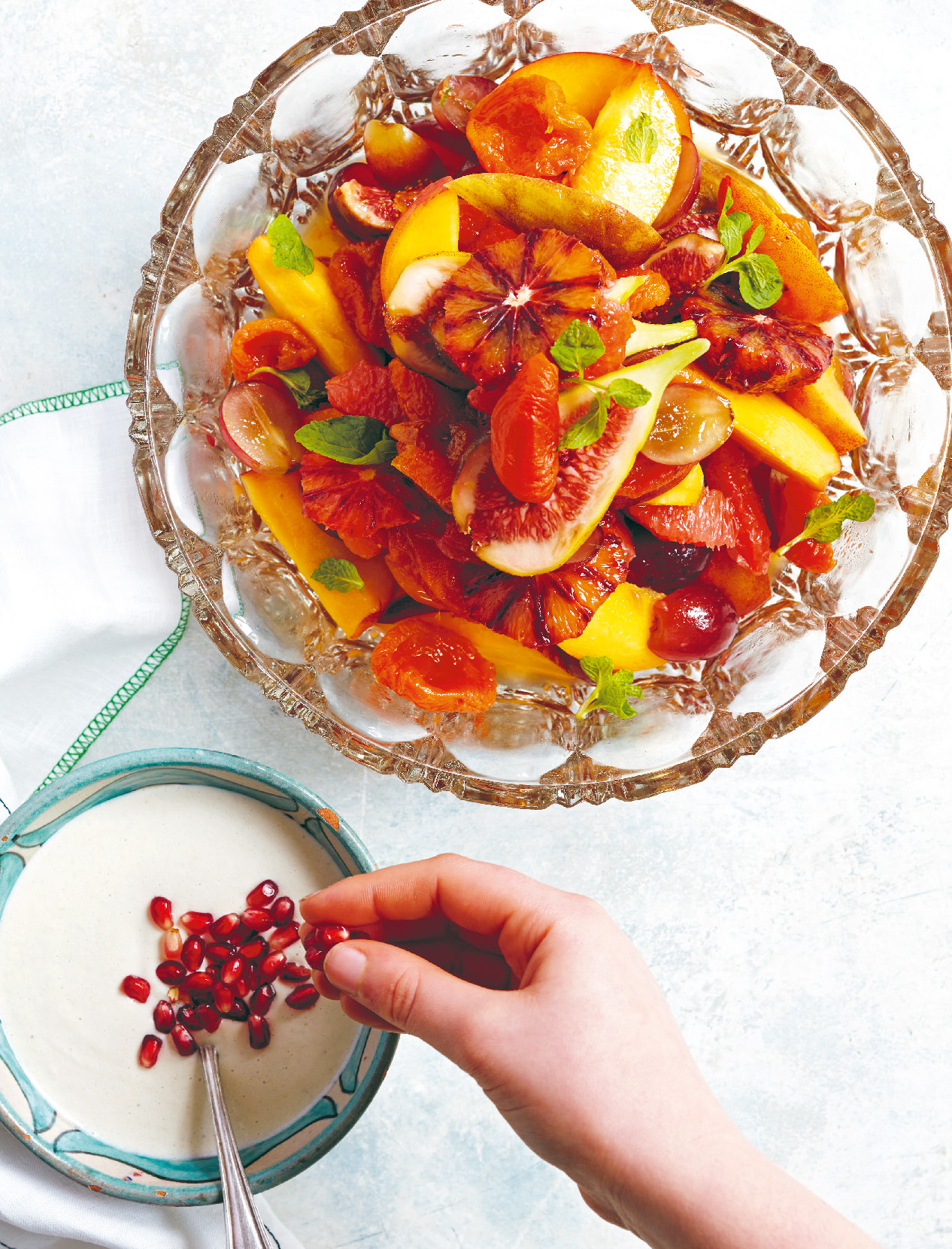 Middle Eastern fruit salad with cashew cream