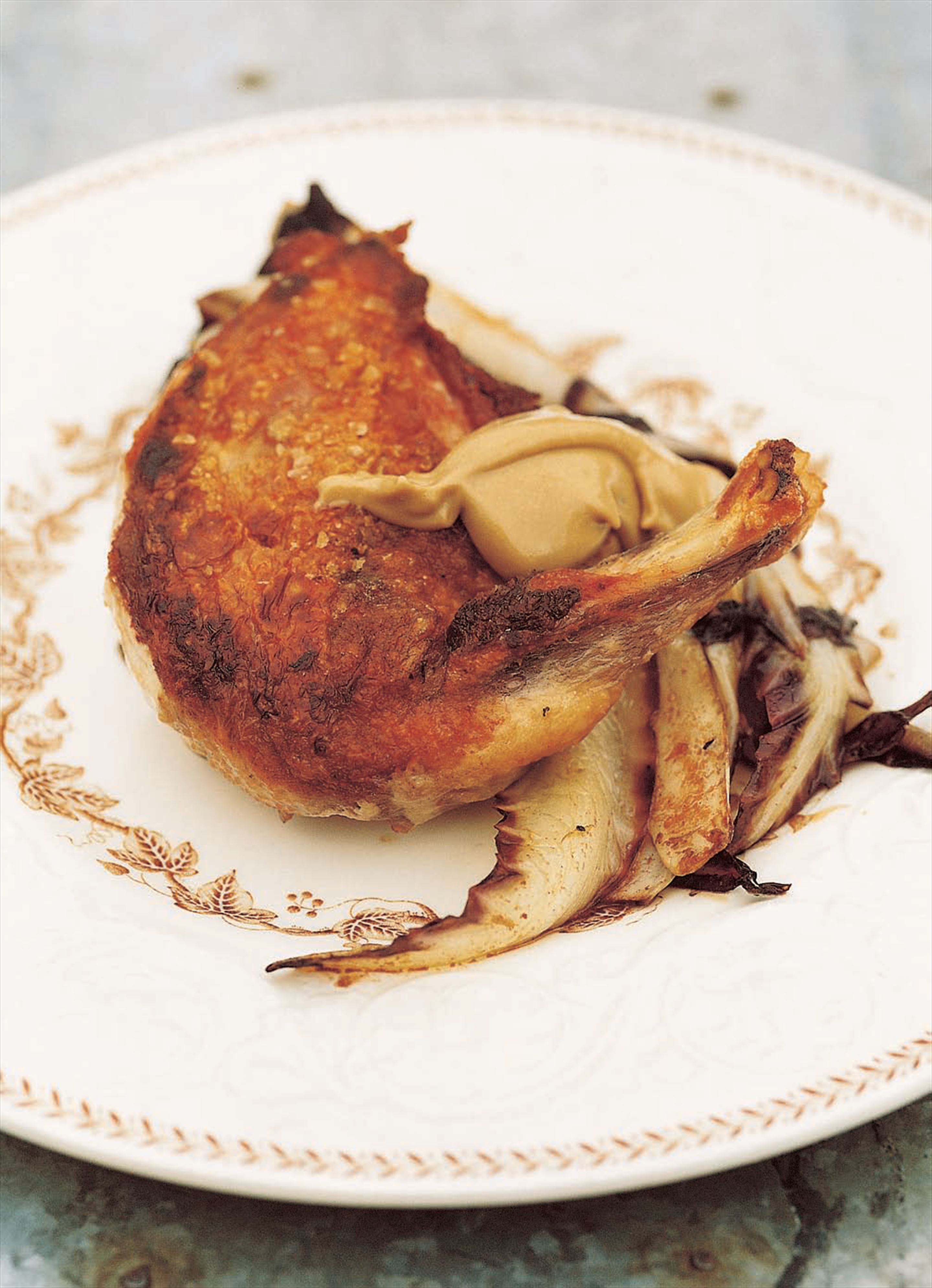 Guinea fowl supremes with braised tardivo and balsamic mayonnaise
