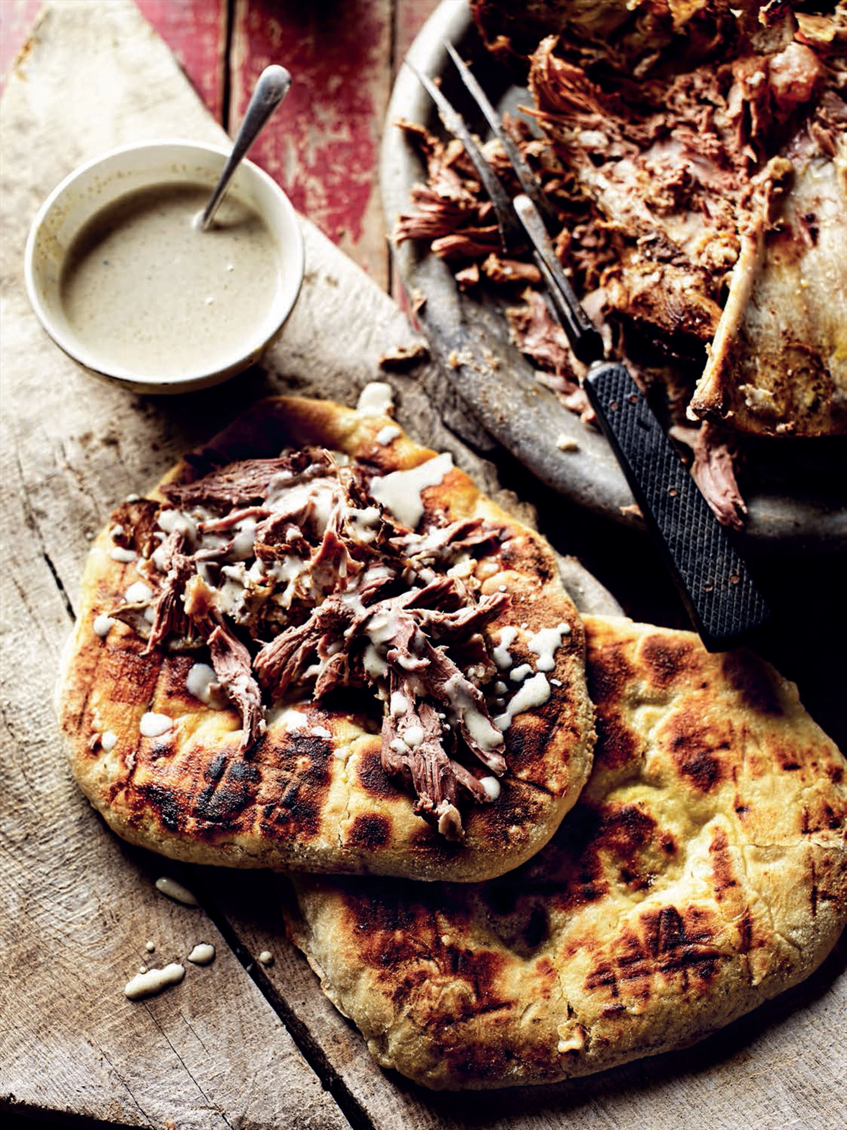 Slow-cooked hogget shoulder with cumin, smoked paprika and buttermilk dressing
