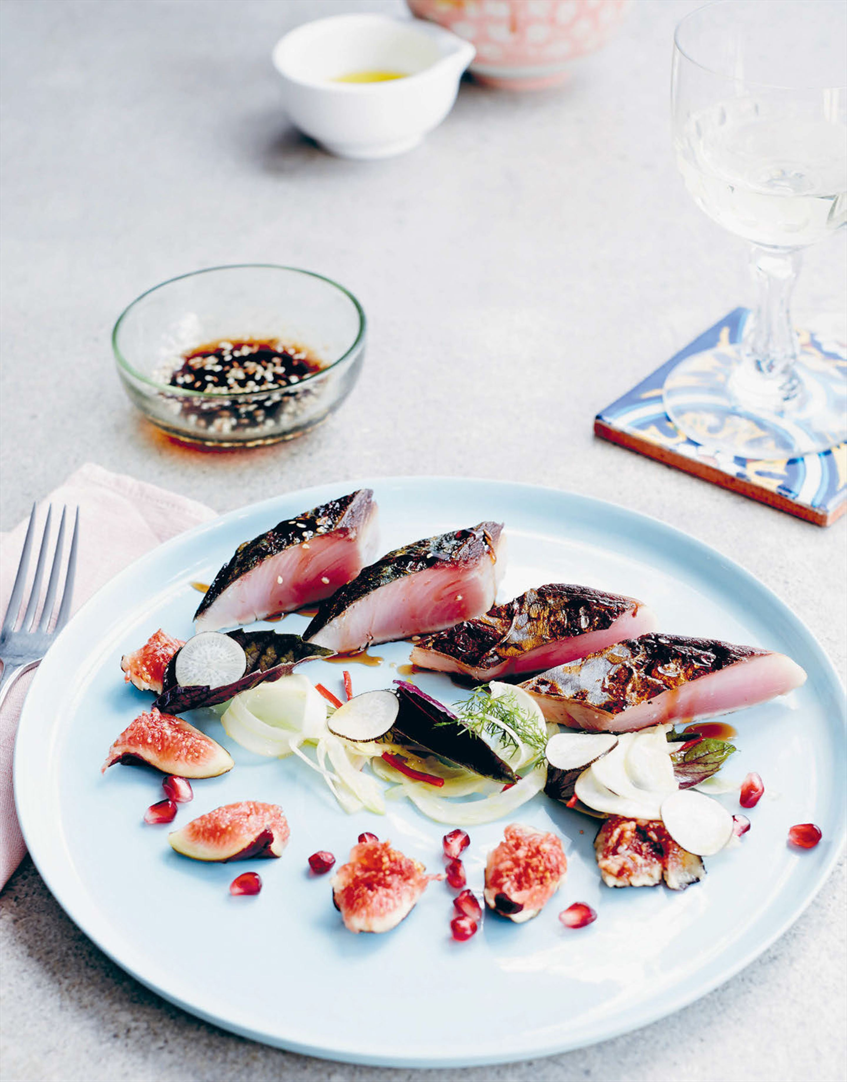 Warm bonito & fennel cebiche salad with figs & pomegranate