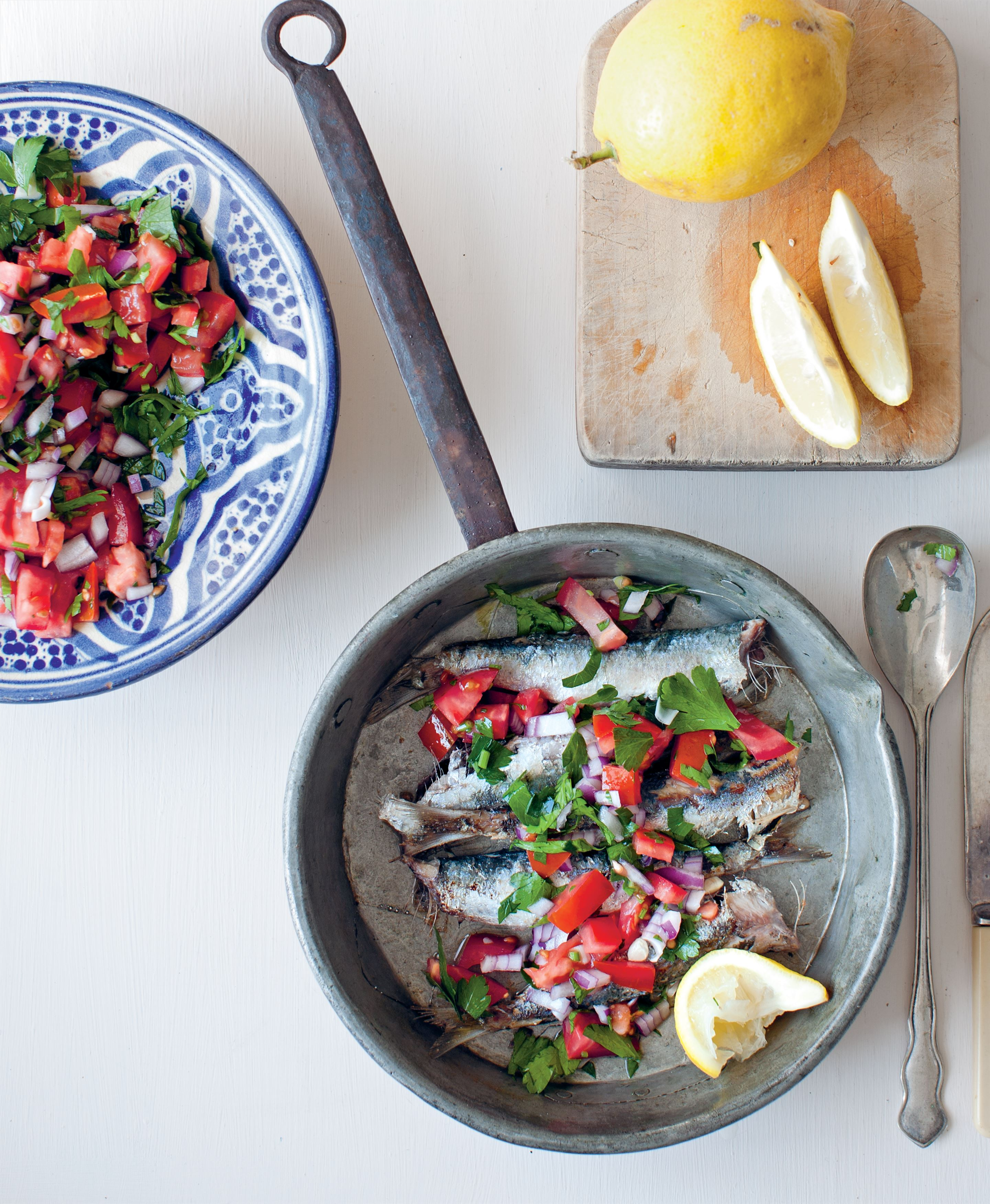 Turkish-style sardines with tomato salad