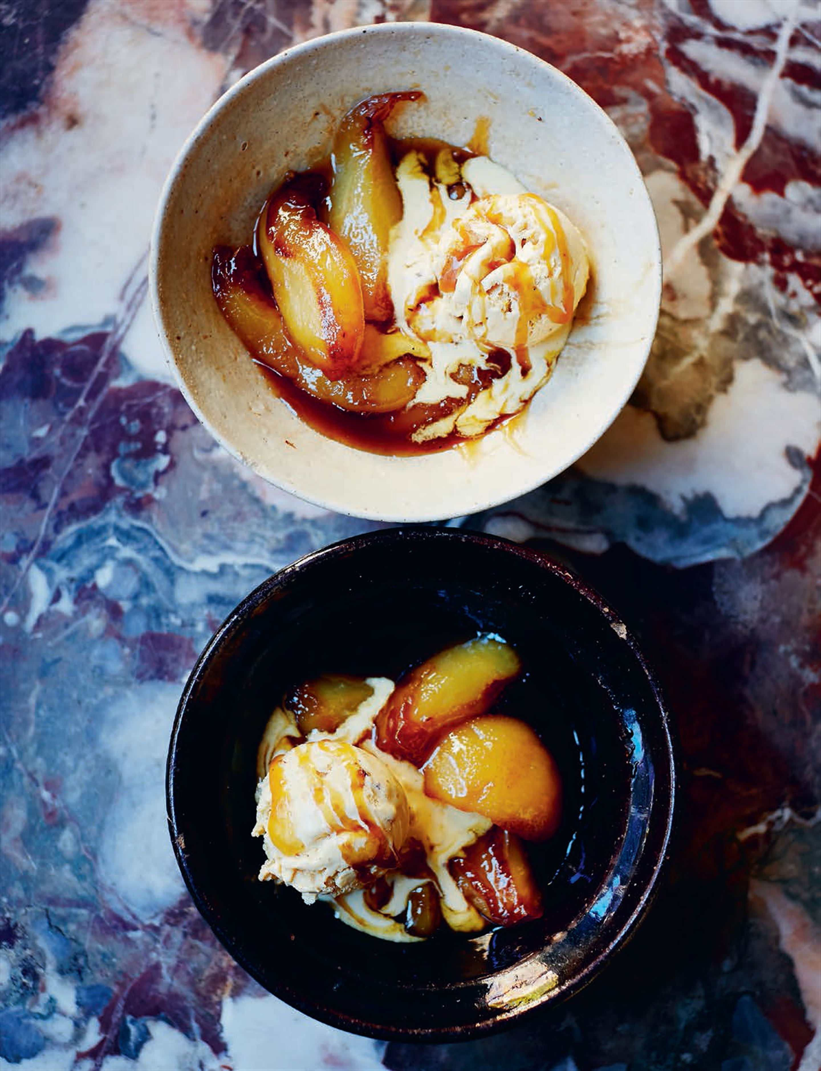 Caramelised pears with hazelnut ice cream