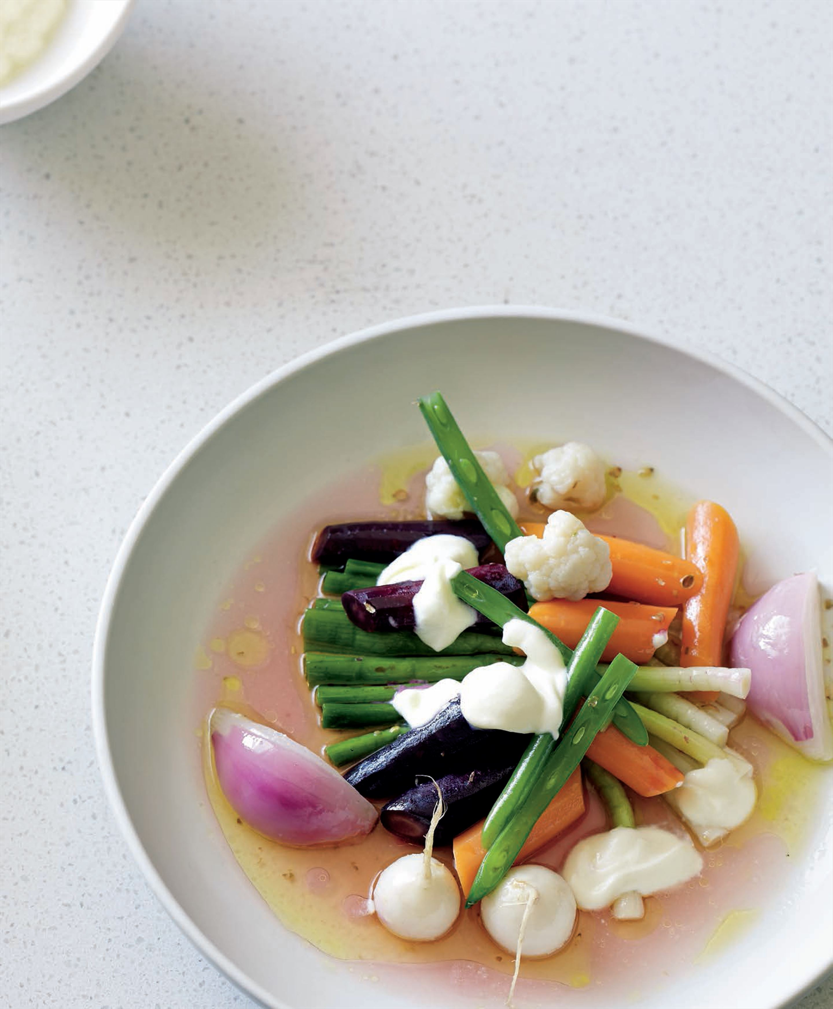 Monks' salad with garlicky dressing