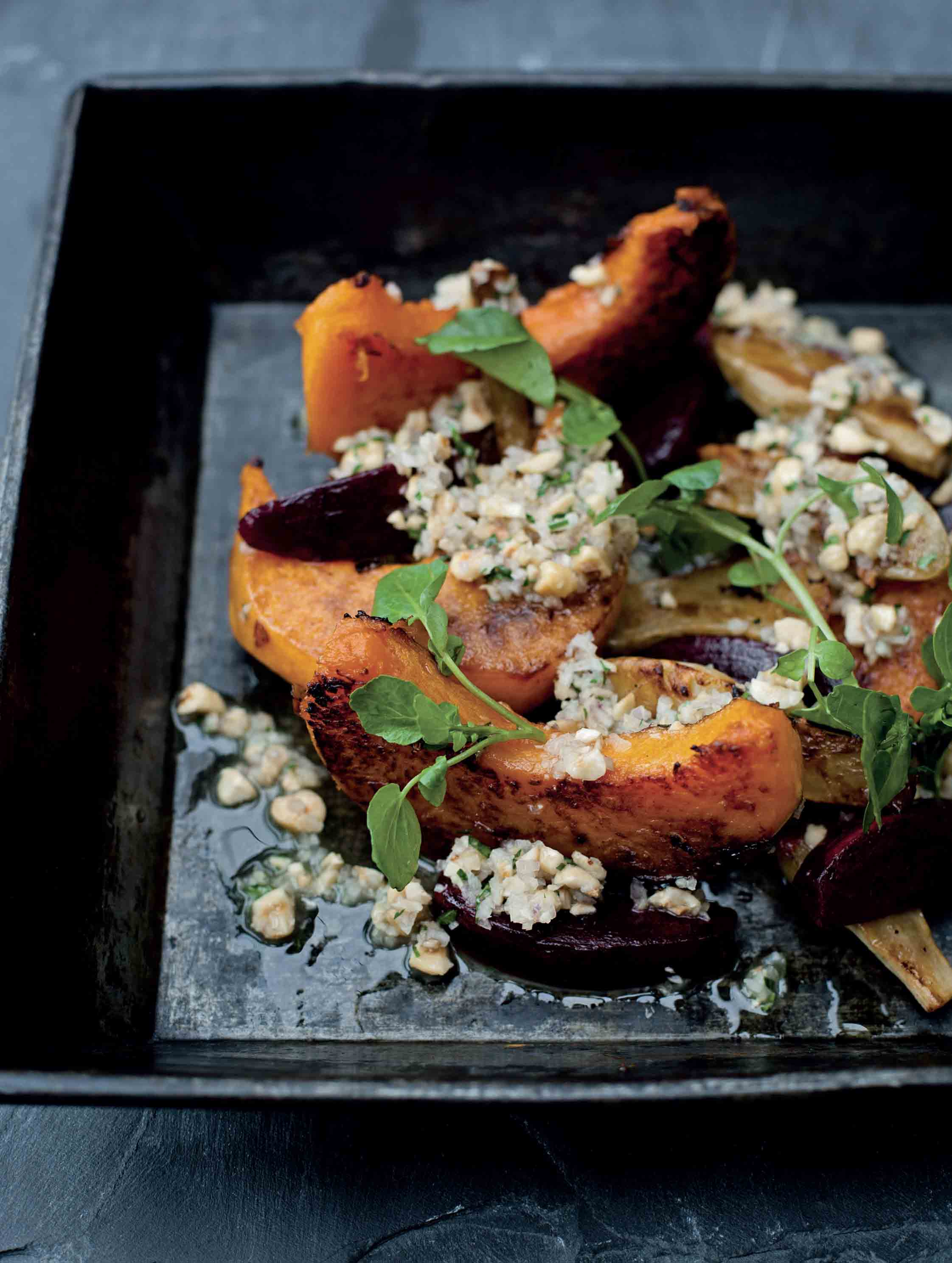 Roasted pumpkin, Jerusalem artichokes and beetroot with hazelnut dressing