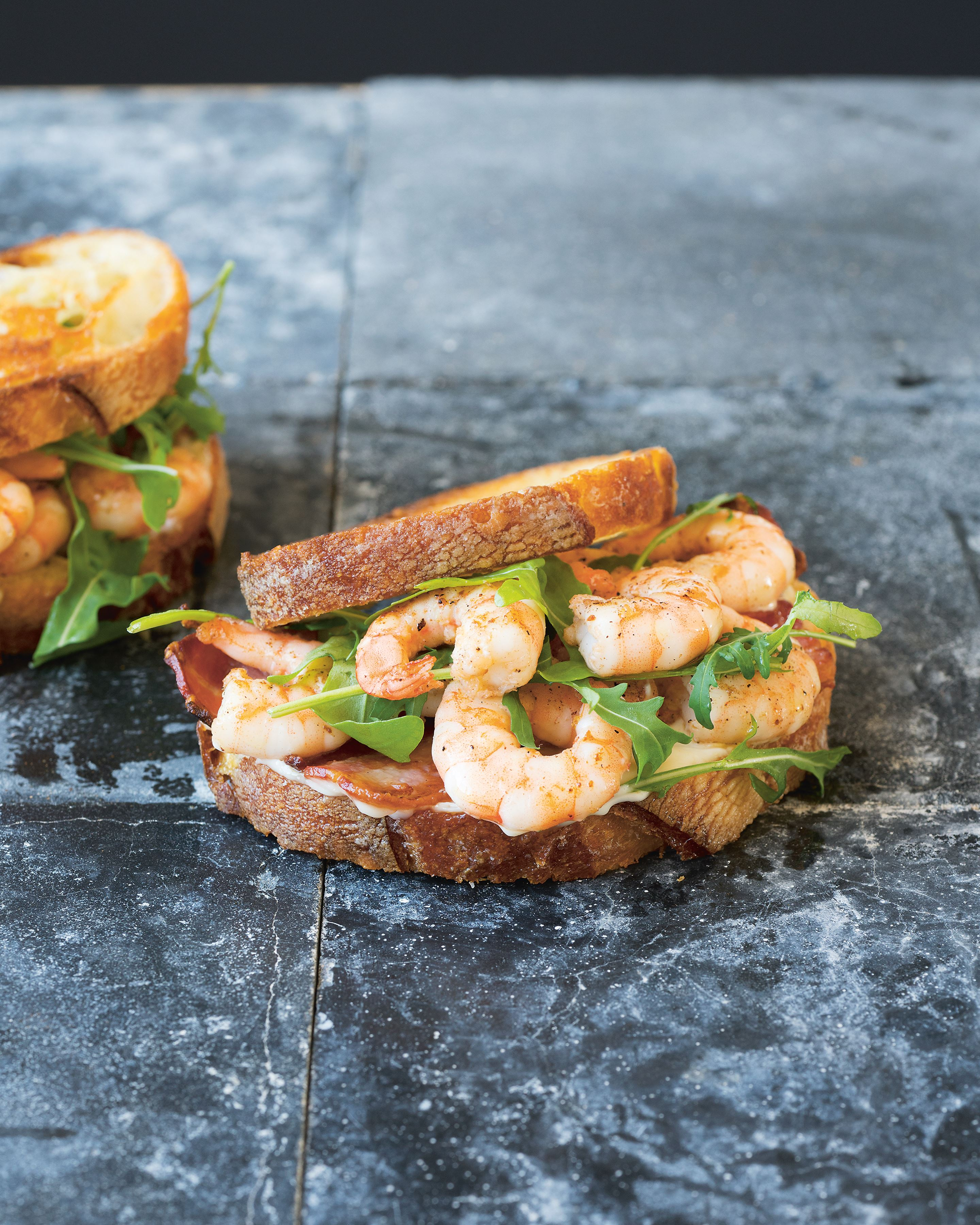King prawn, bacon & garlic