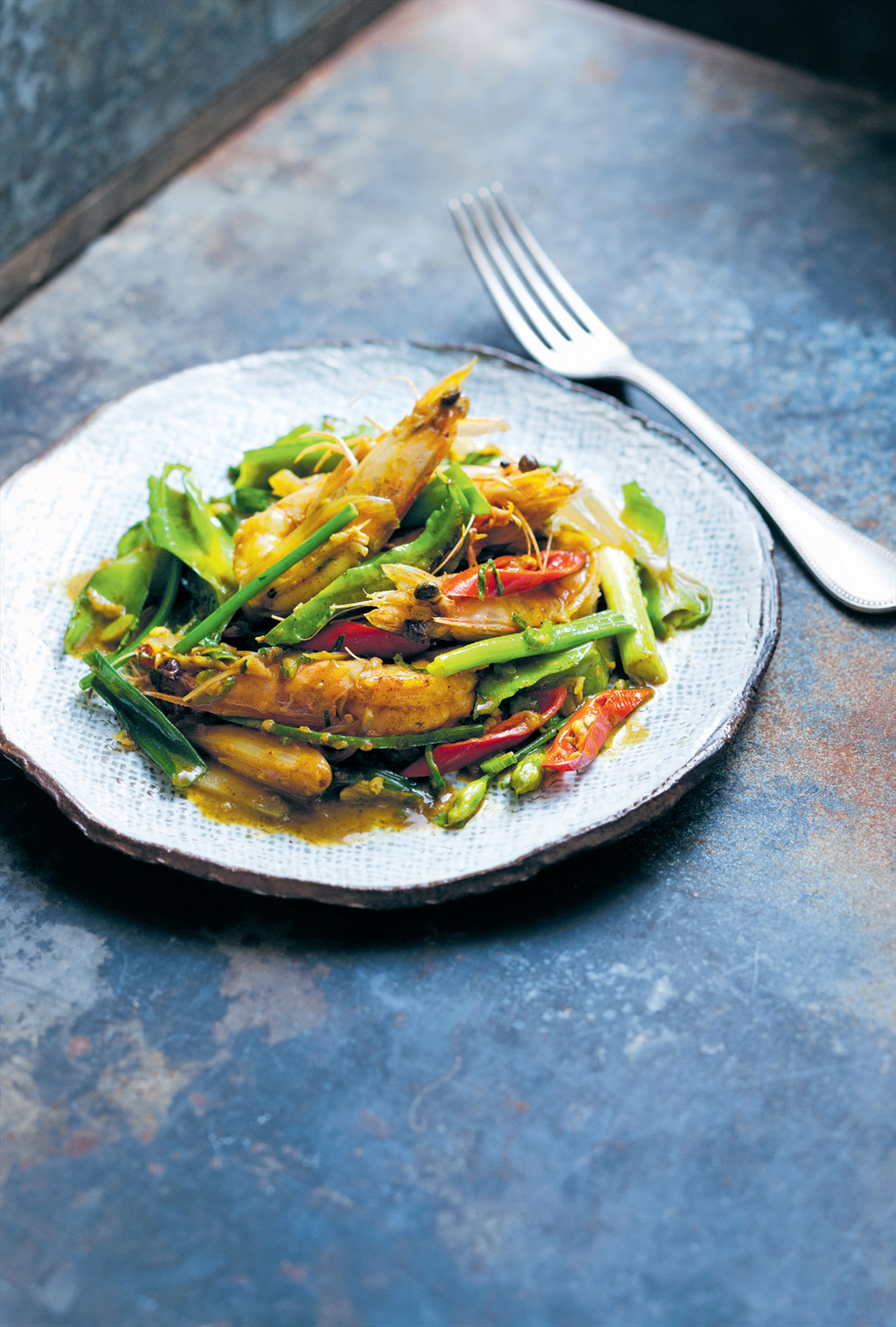 Prawns with Asian celery and curry powder