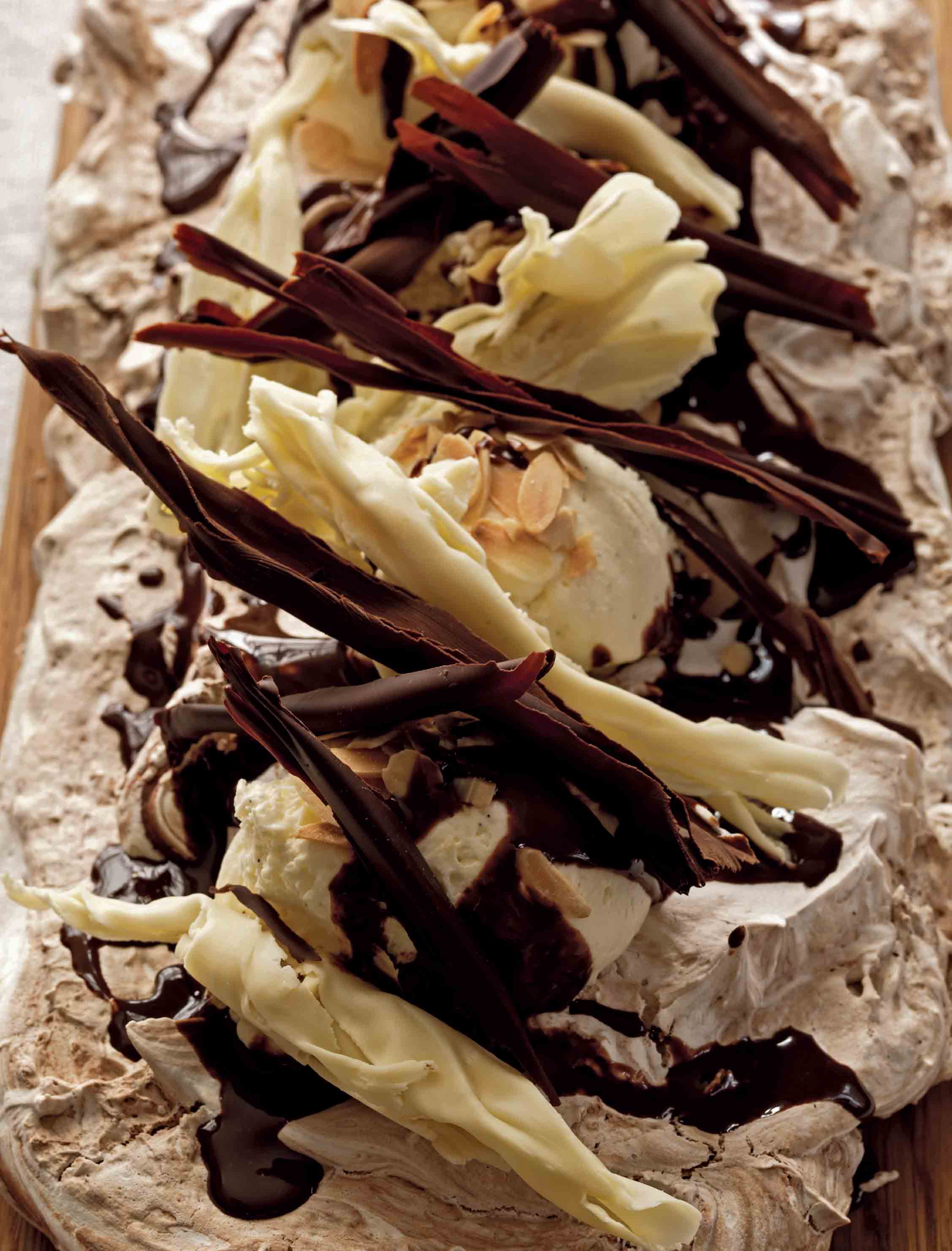 Chocolate and almond pavlova