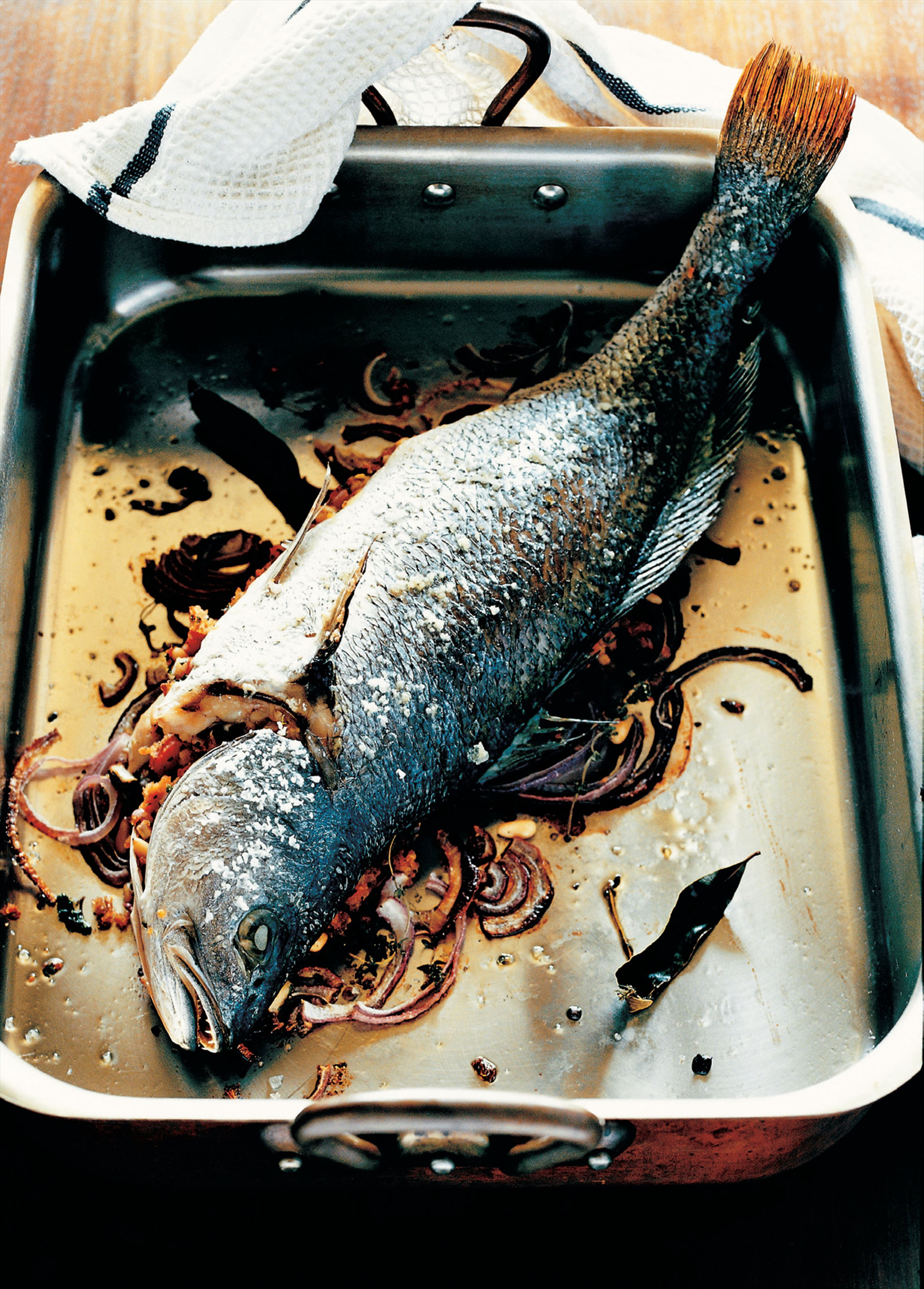 Baked stuffed whole fish