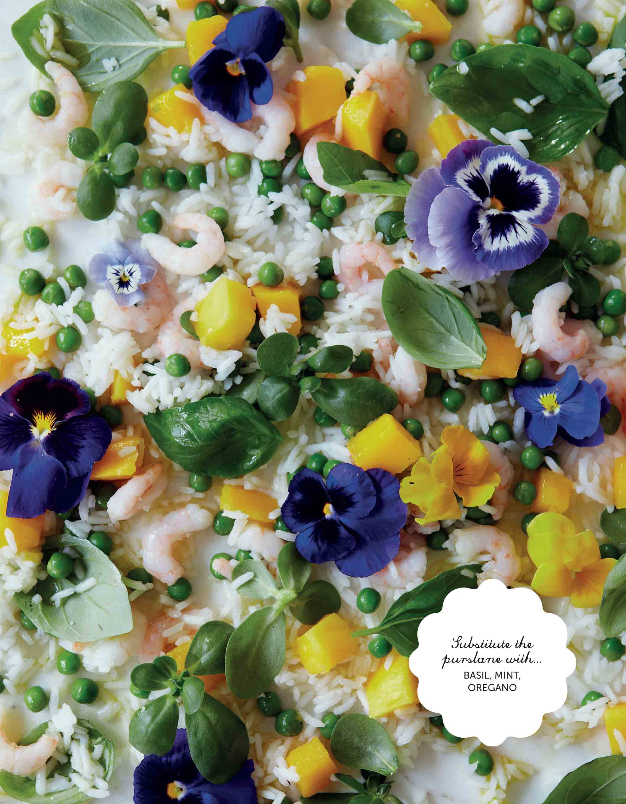 Pea, purslane and pansy salad