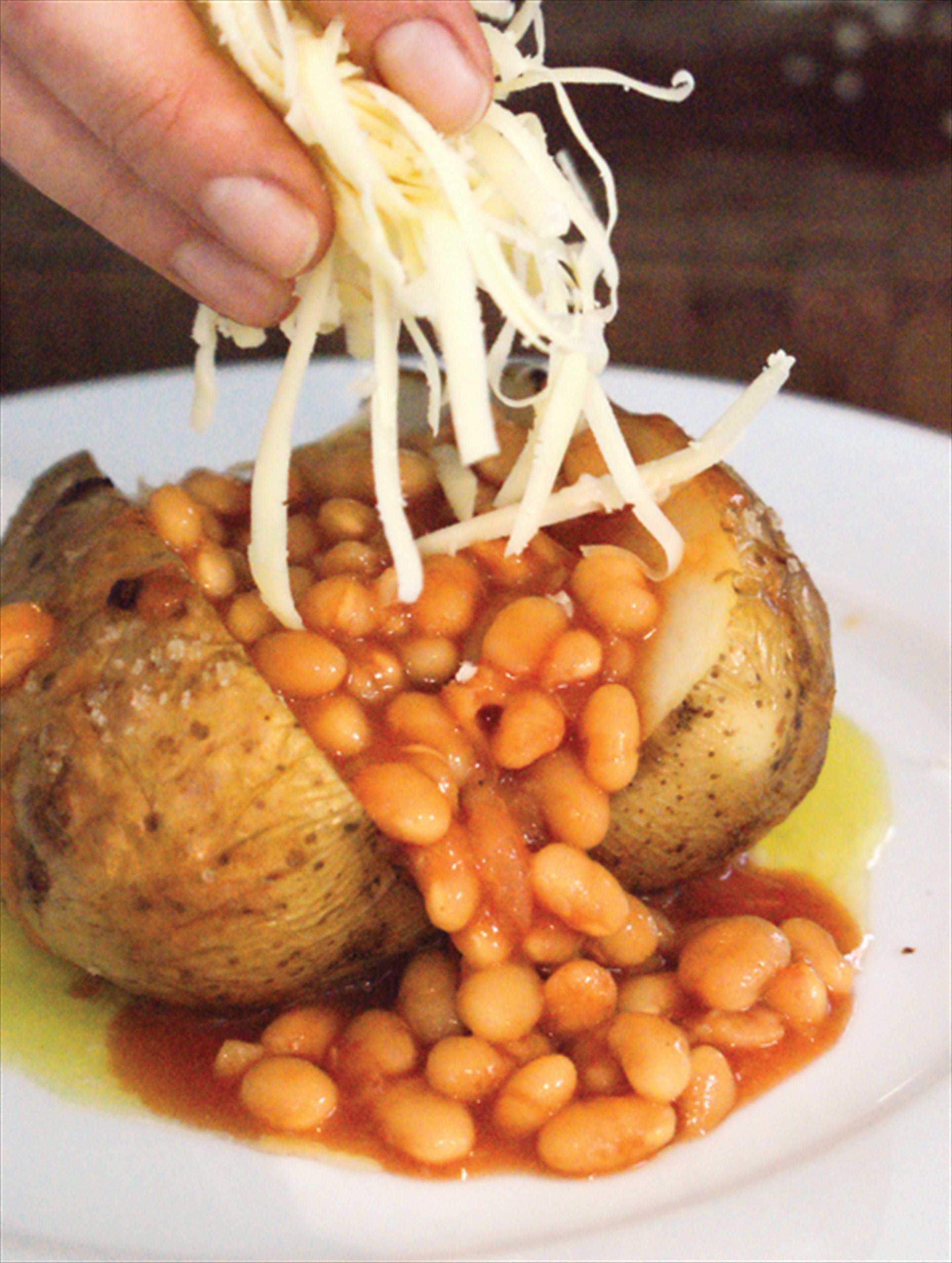 The classic – jacket potato with beans and cheese