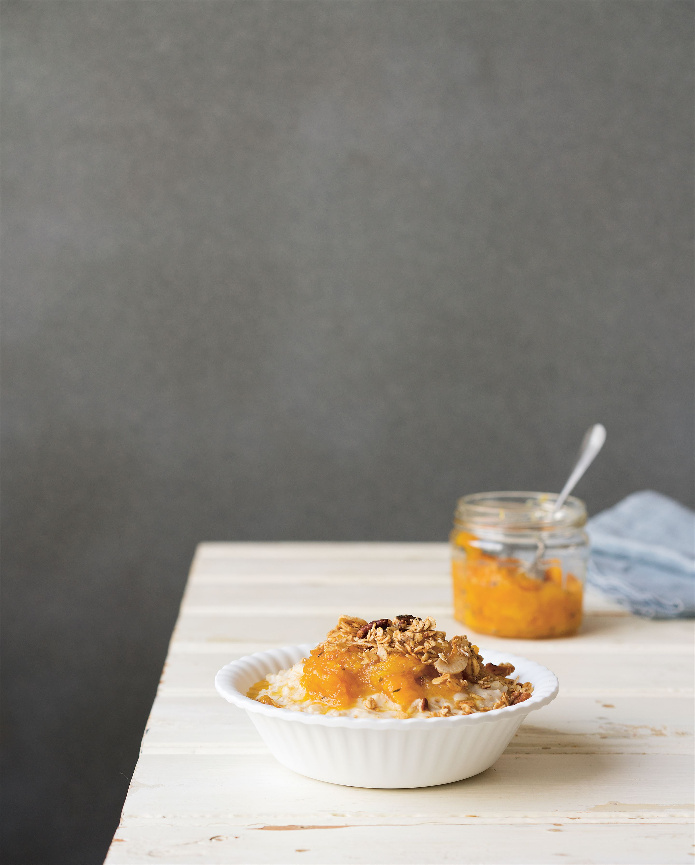 Oat porridge with orange, marmalade + thyme compote