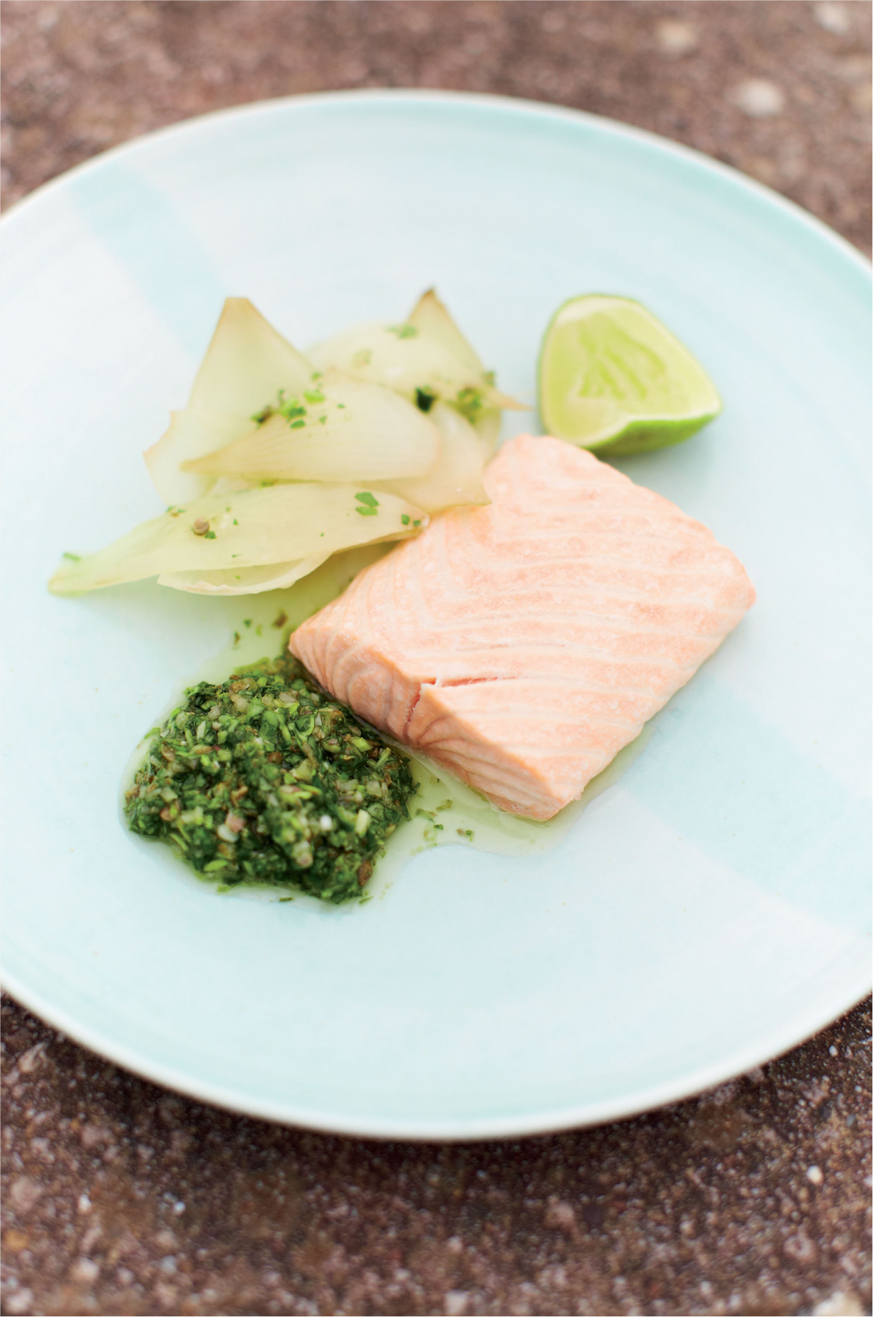 Salmon with watercress sauce and smoked onions