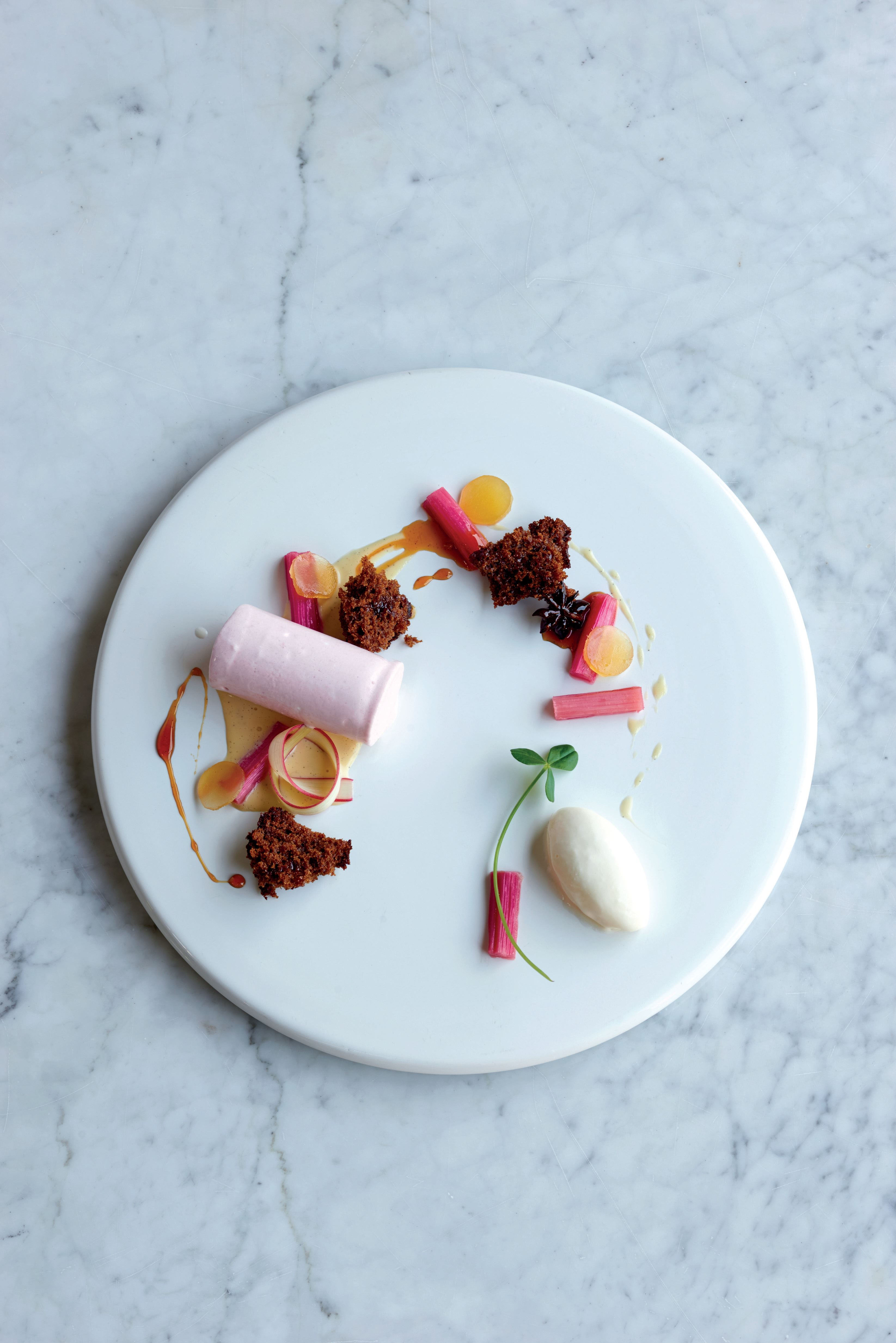 Iced rhubarb mousse with ginger cake, star anise and crème fraîche sorbet