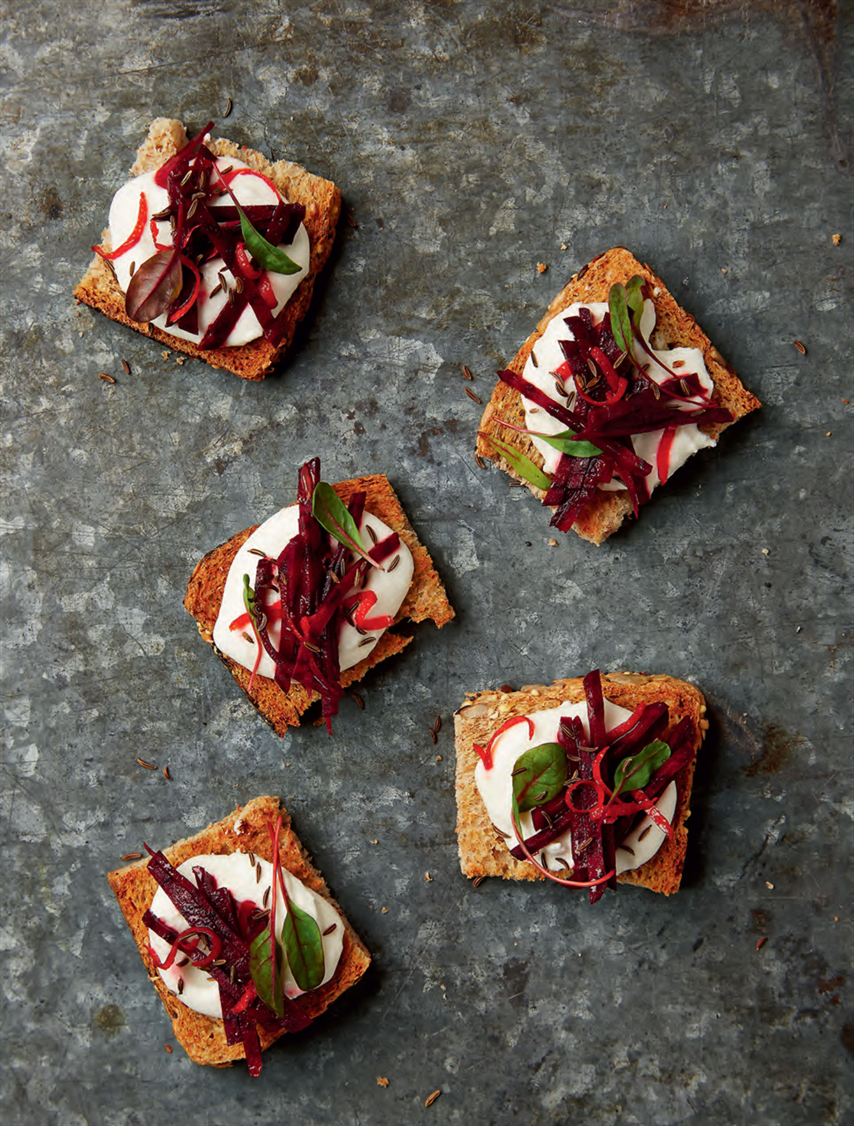 Whipped feta with beetroot & caraway