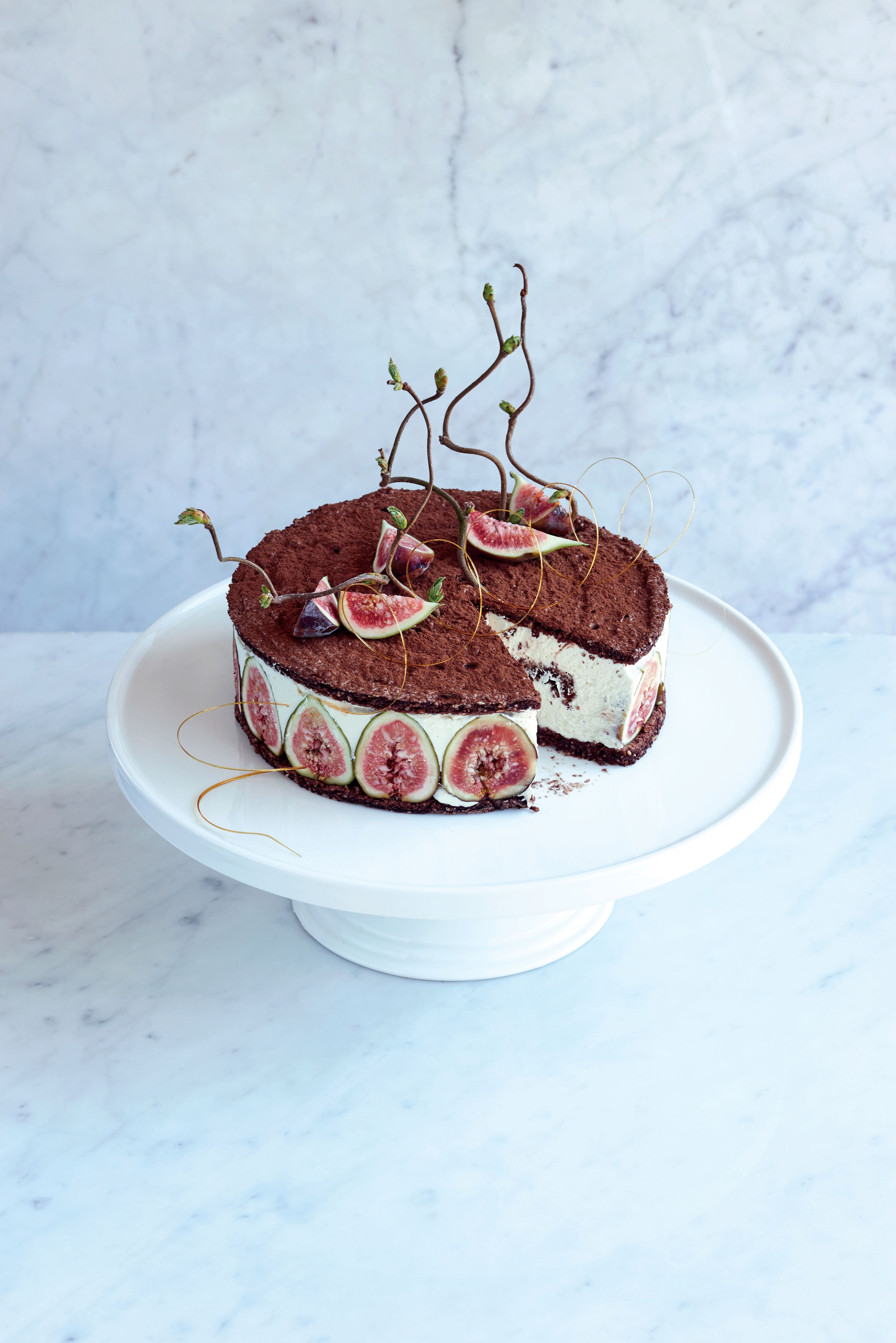 Chocolate hazelnut dacquoise with figs