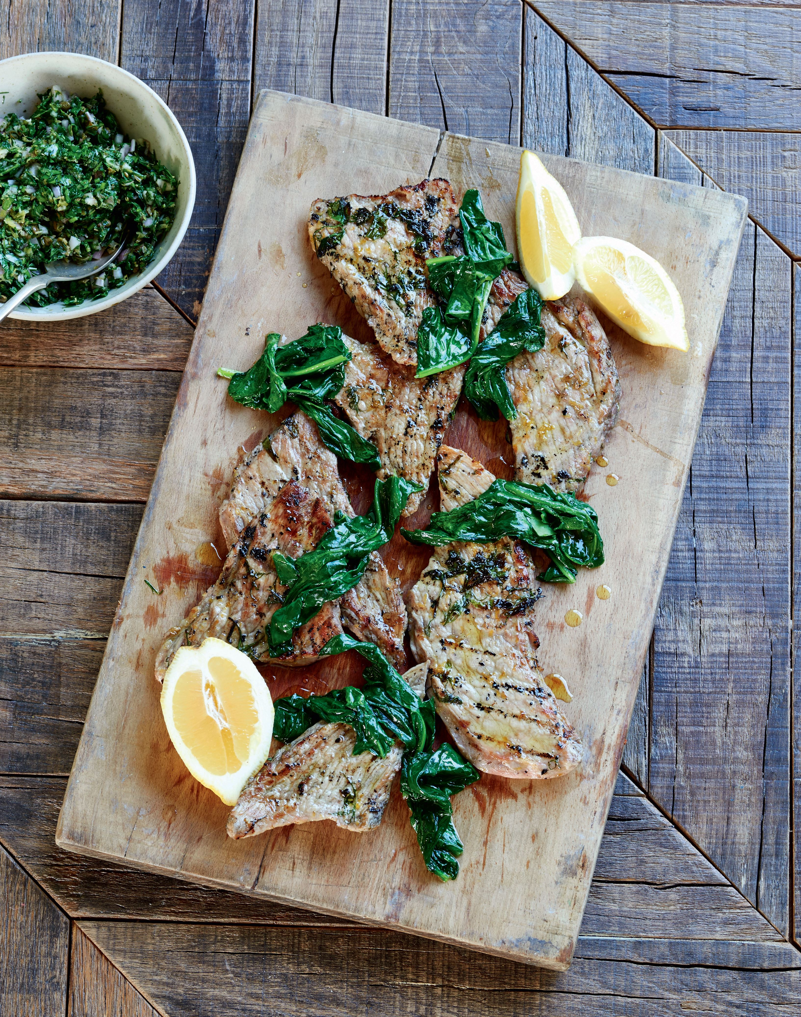 Veal escalopes with salsa verde