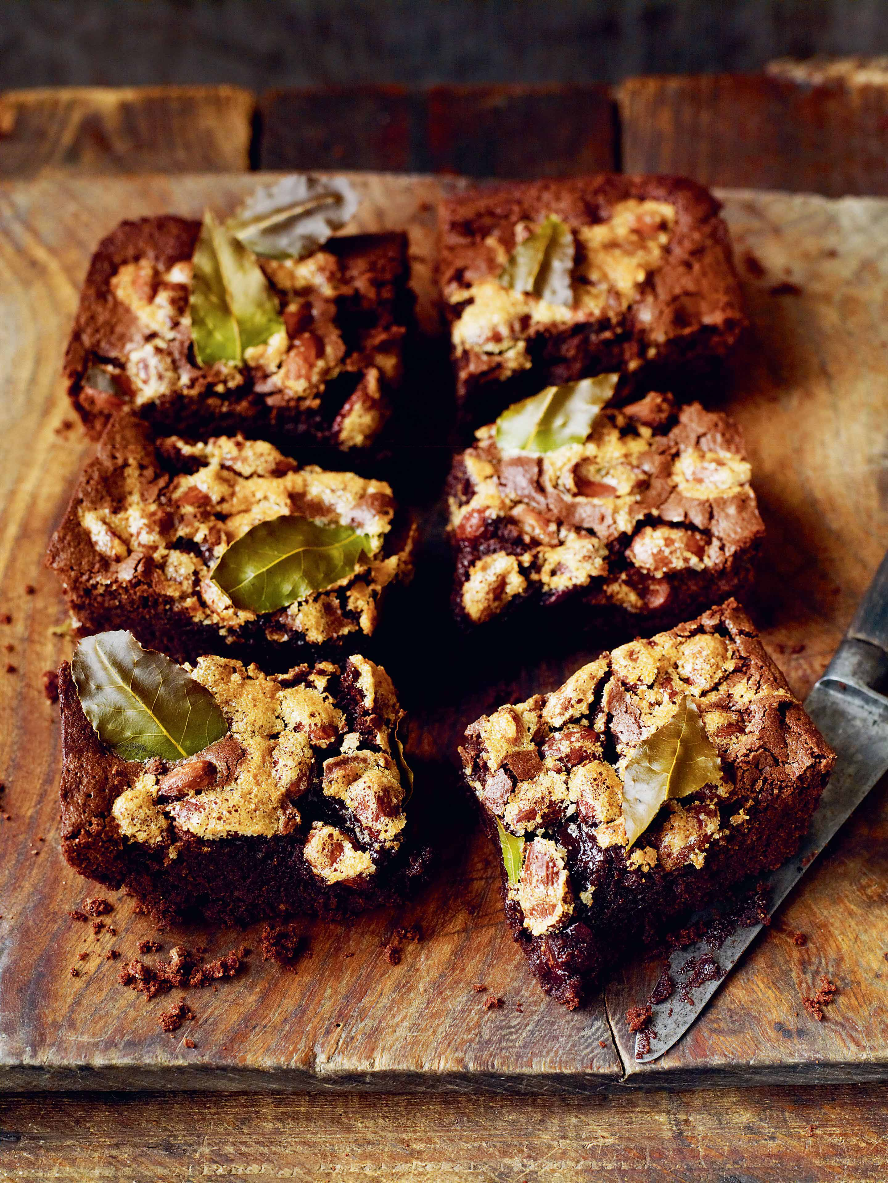 Chocolate rye brownies with bay & almonds