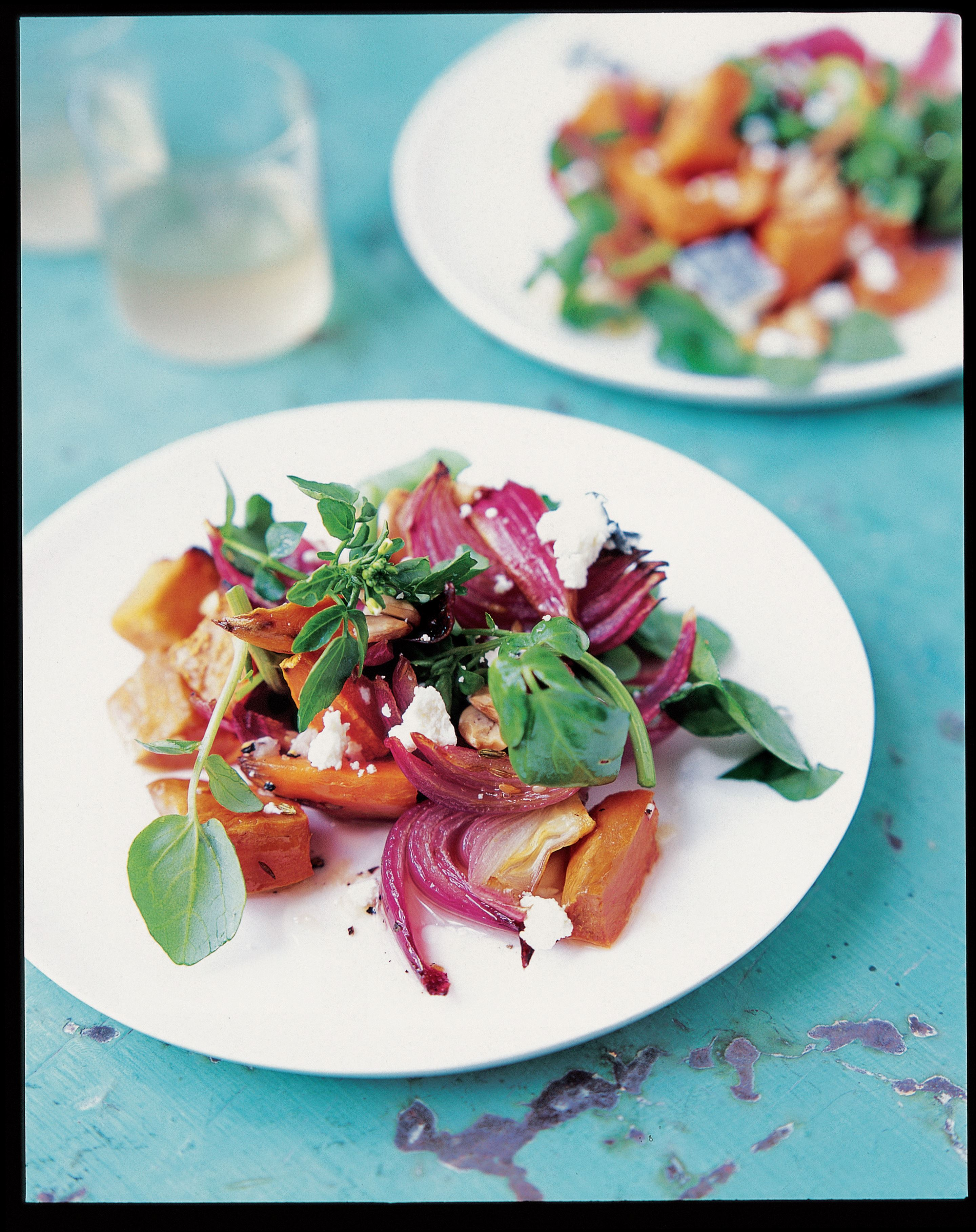 Warm sweet potato, rocket and goat's cheese salad