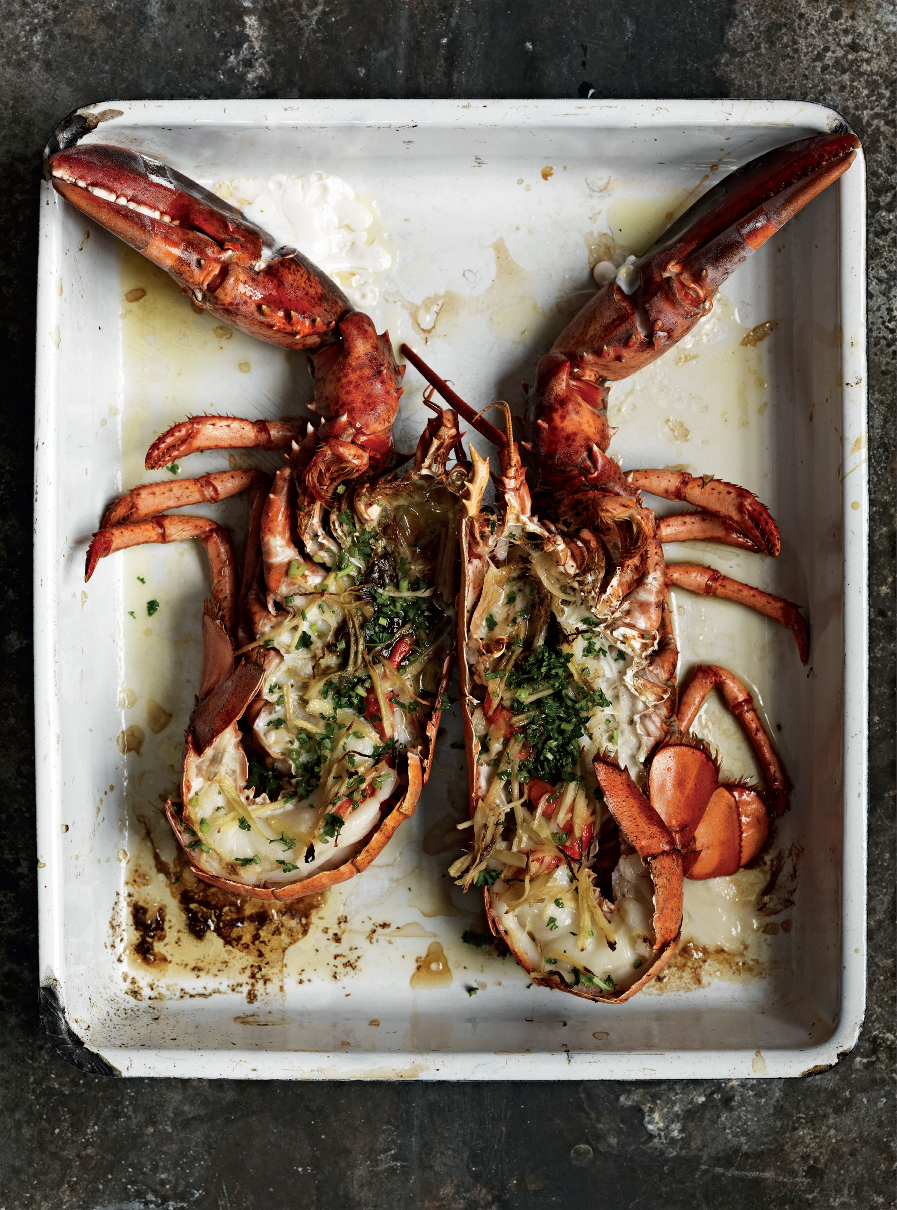 Roast lobster with white port and ginger