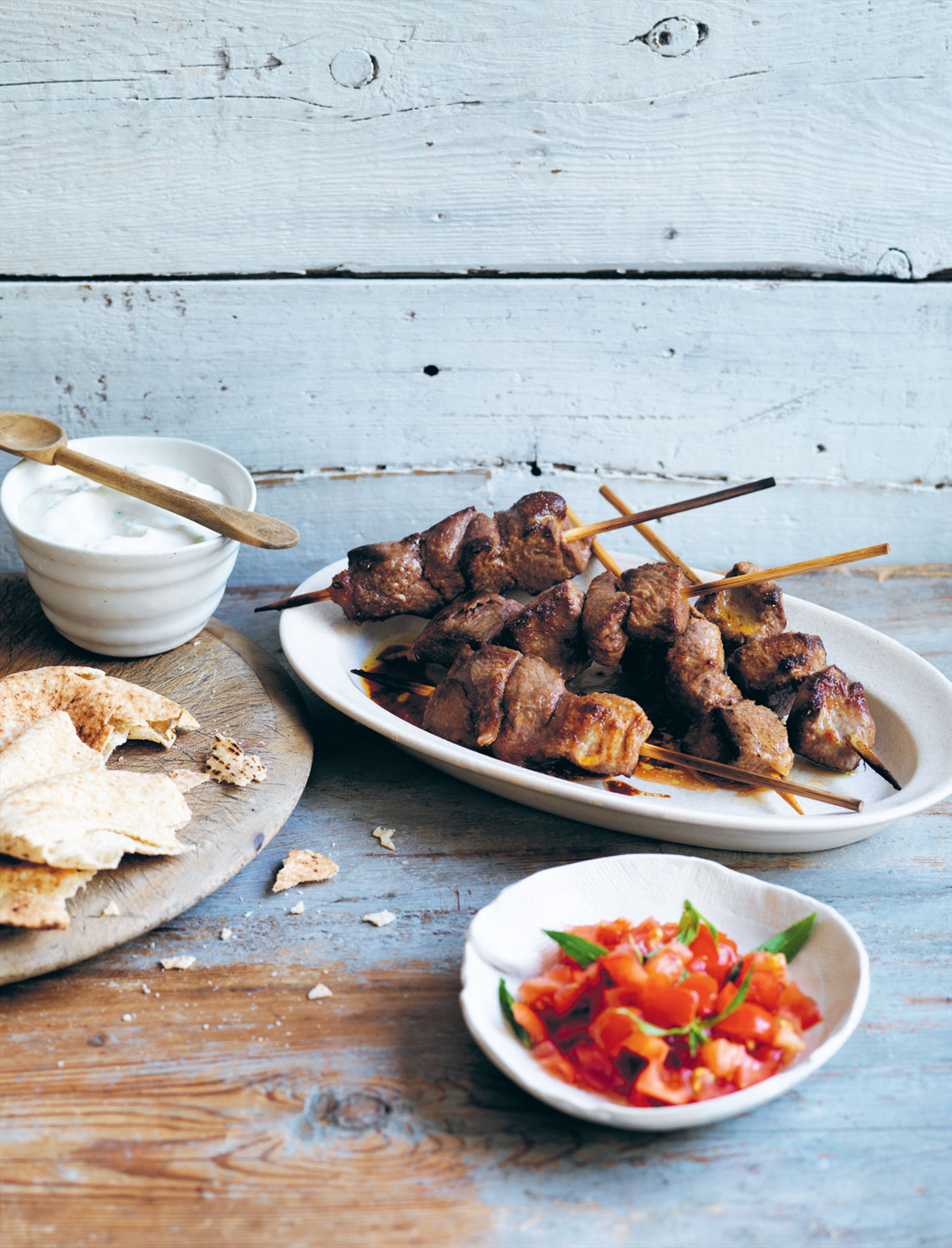 Lamb souvlaki with tzatziki